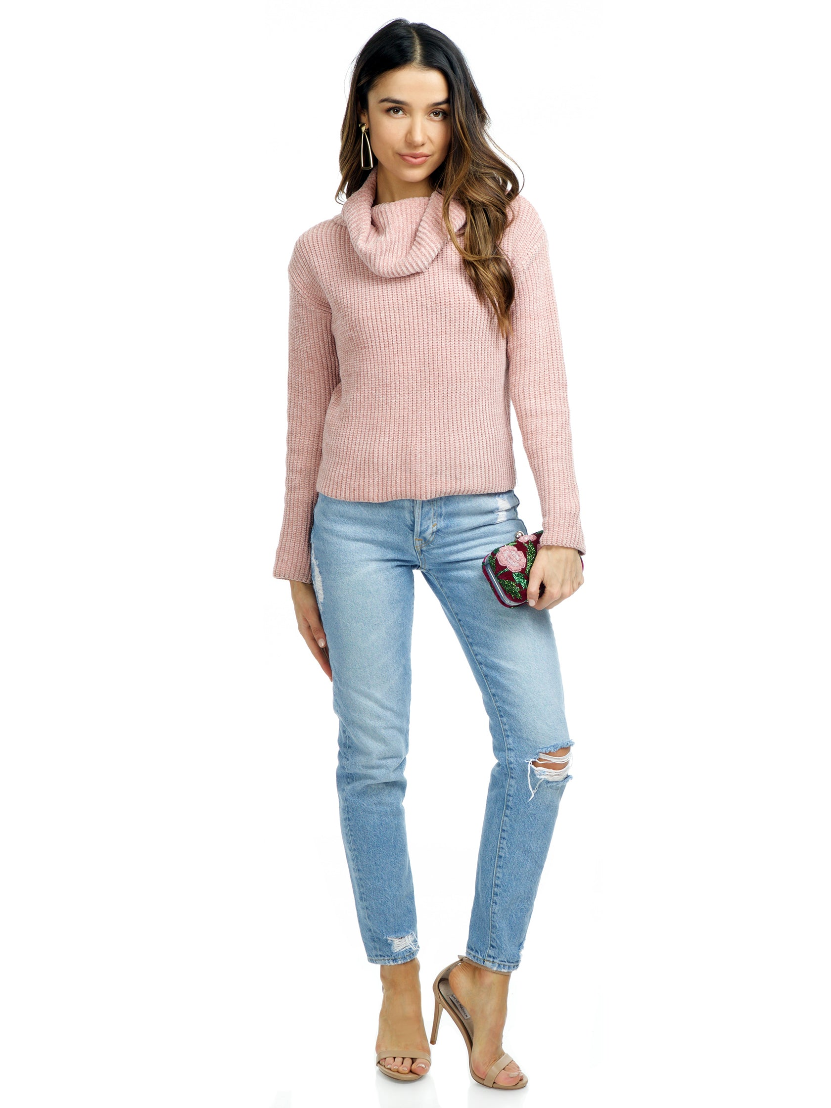 Women wearing a sweater rental from FashionPass called Make Me Blush Sweater