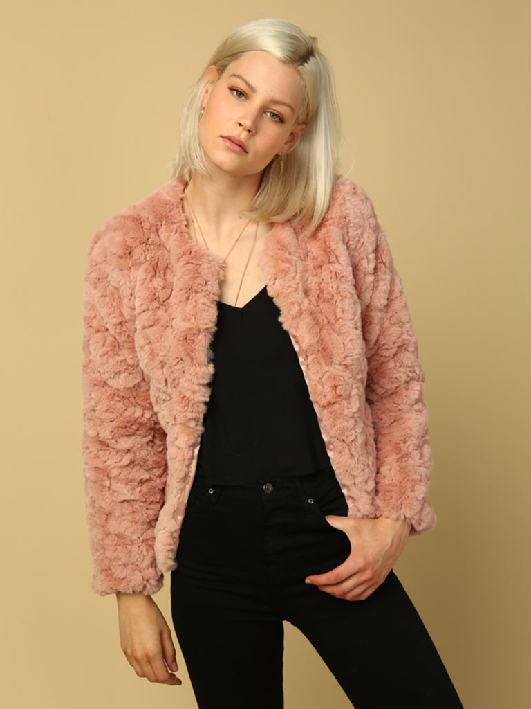 Girl outfit in a jacket rental from Line & Dot called Fab Moment Faux Fur Jacket