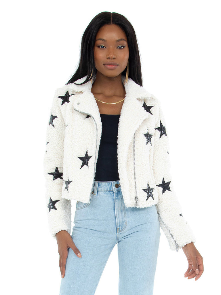 Women wearing a jacket rental from BLANKNYC called Faux Fur Moto Jacket