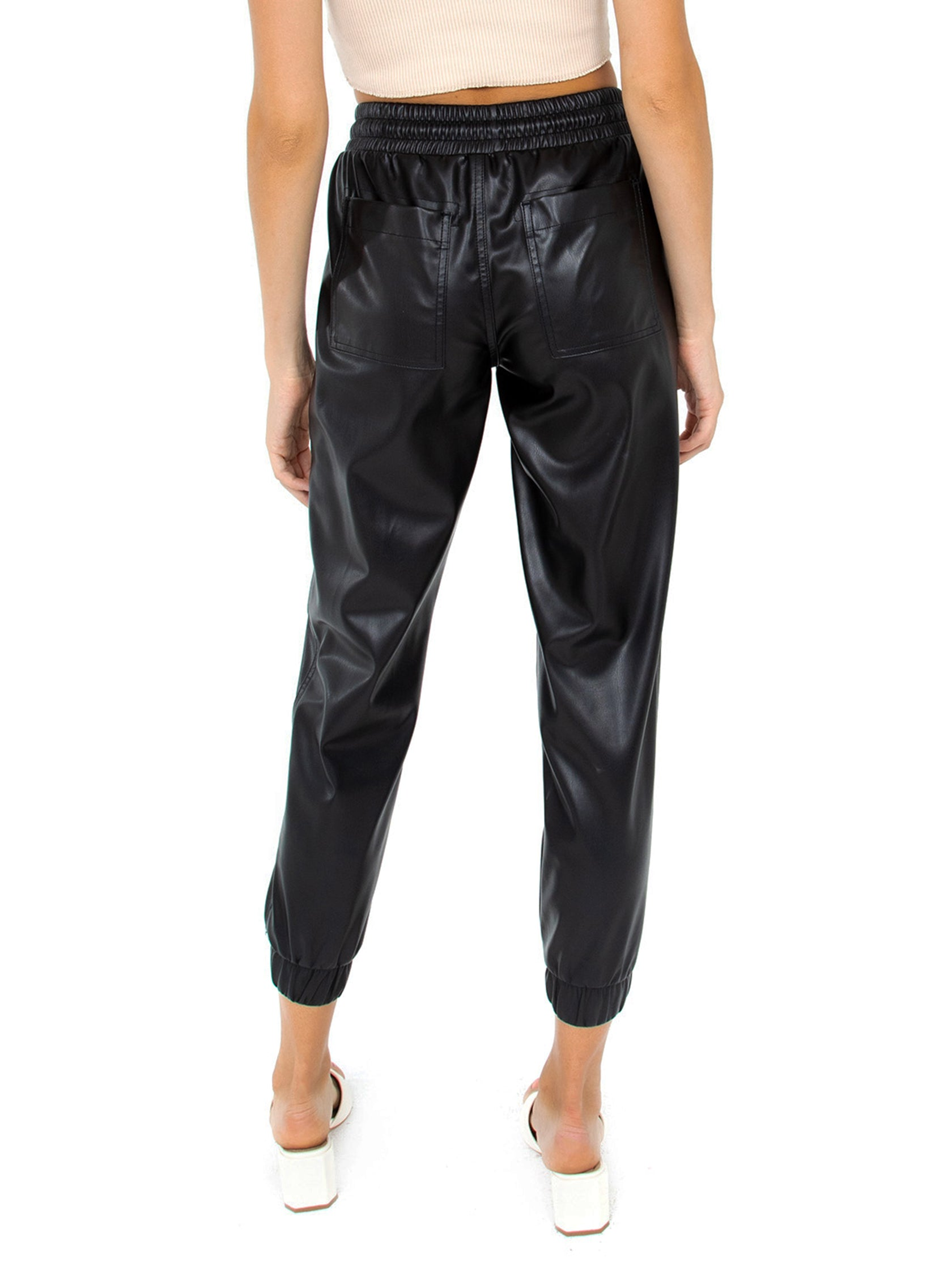 Women outfit in a pants rental from BLANKNYC called Faux Leather Jogger