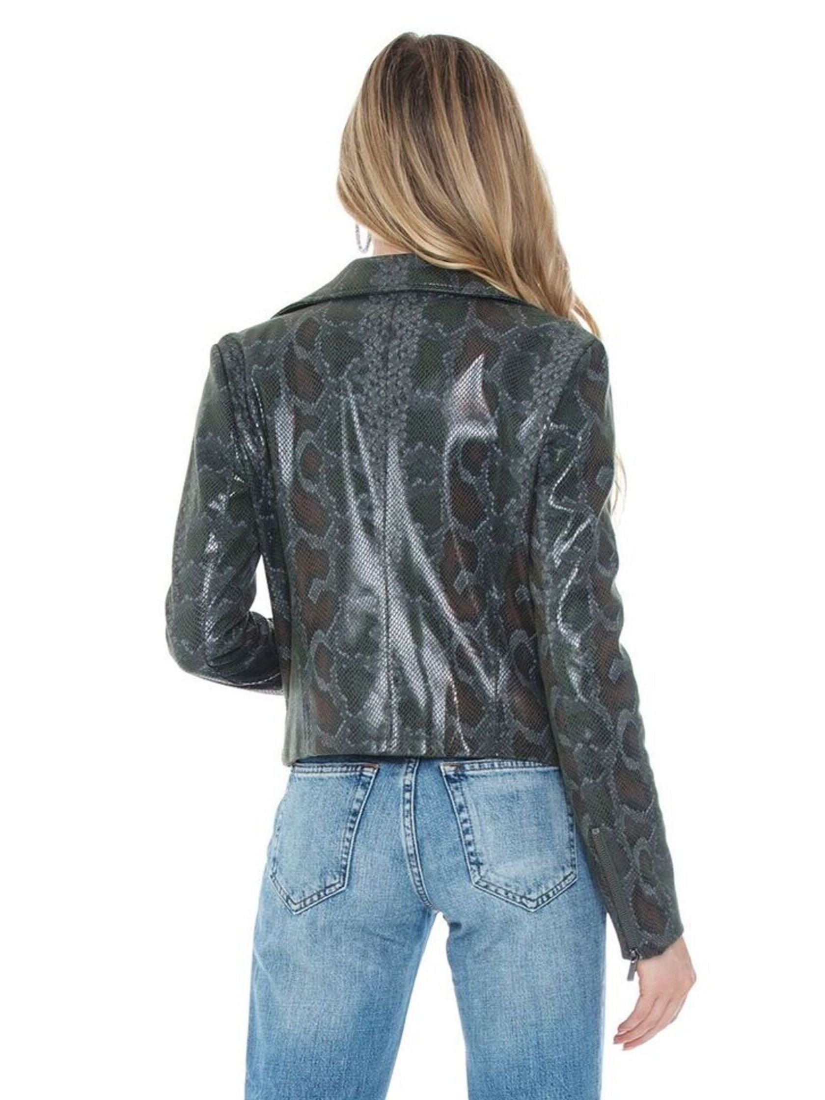 Women outfit in a jacket rental from 1.STATE called Faux Snakeskin Moto Jacket
