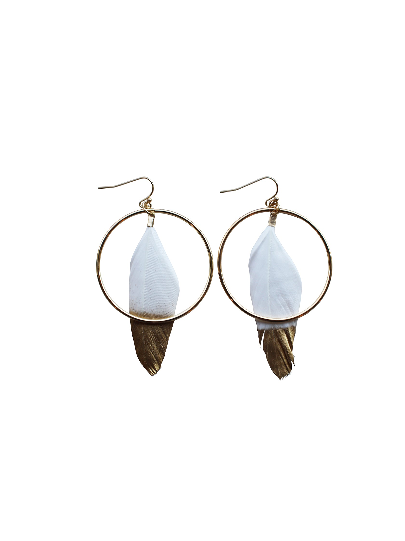 Women outfit in a earrings rental from Gemelli called Feather Hoops