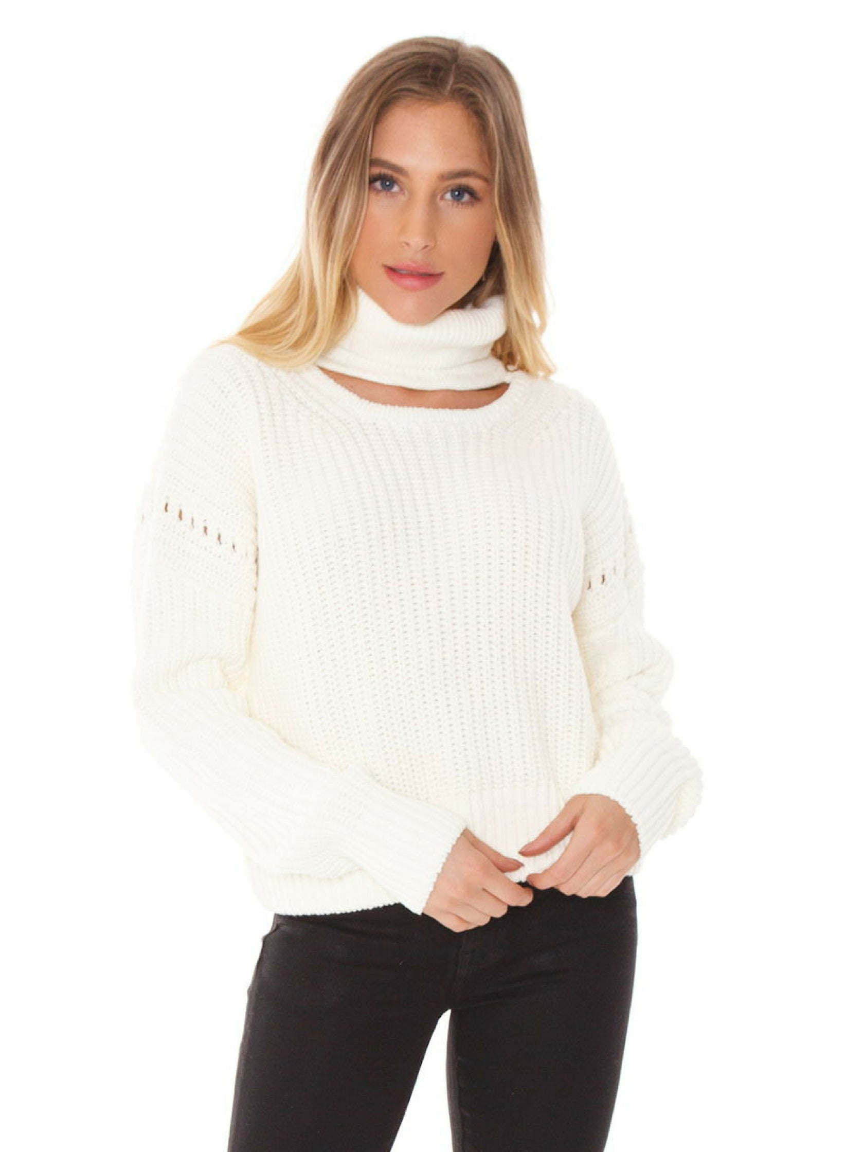 Girl outfit in a sweater rental from Bishop + Young called Fireside Cropped Sweater