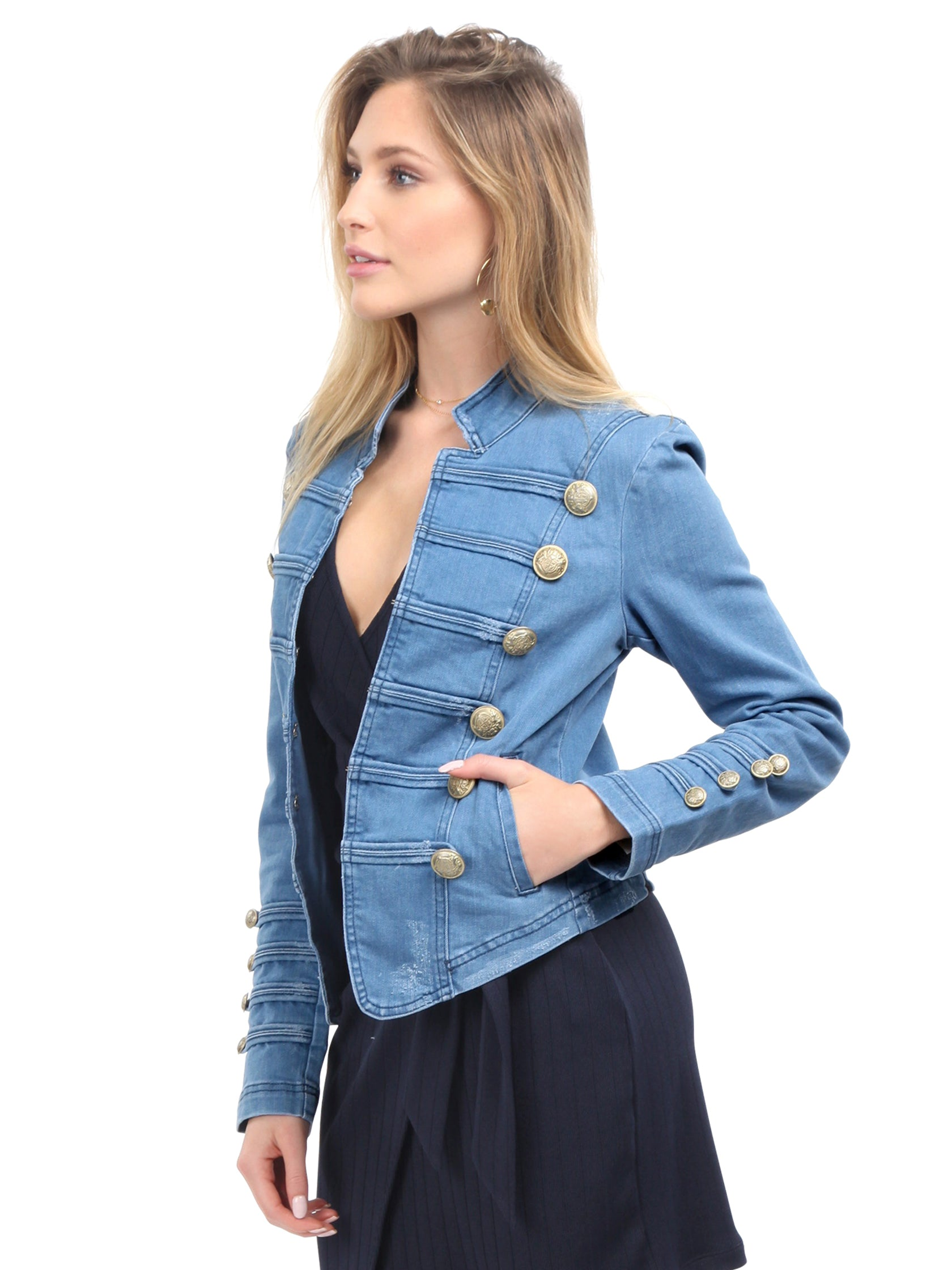 20d40ca0636 Women wearing a jacket rental from Free People called Fitted Military Denim  Jacket