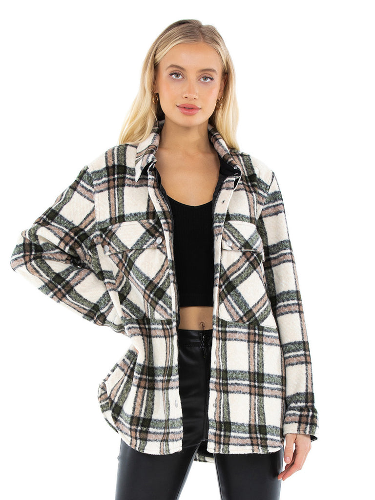 Women wearing a jacket rental from BLANKNYC called Flannel Shacket