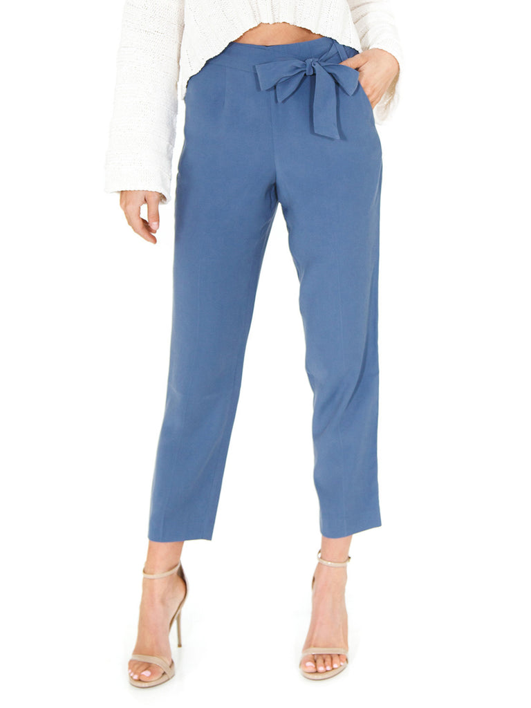 Women wearing a pants rental from 1.STATE called Flat Front Tie Waist Slim Pants