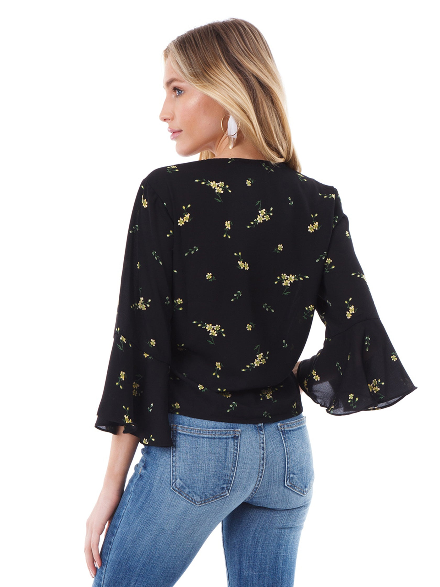Women outfit in a top rental from Lush called Floral Tie Front Blouse