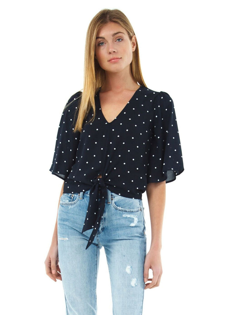 Women wearing a top rental from 1.STATE called Flounce Sleeve V-neck Moonlit Polka Dot Blouse