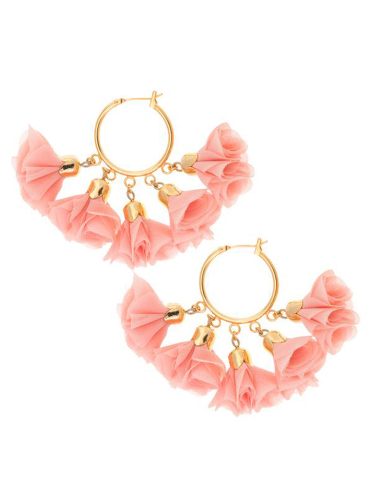 Women wearing a earrings rental from Shashi called Flower Hoop Earrings