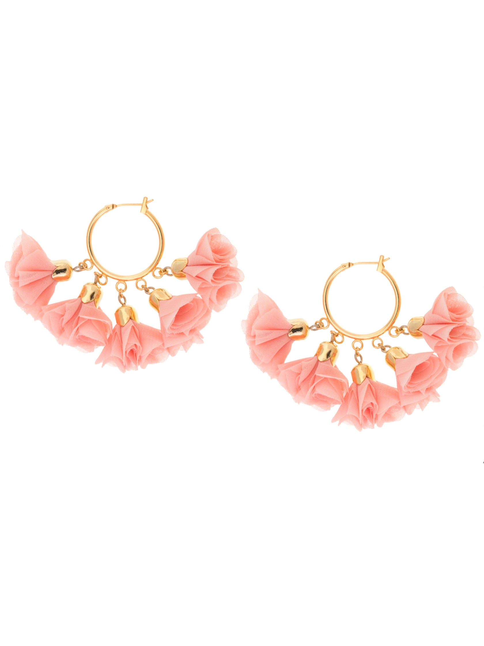 Women outfit in a earrings rental from Shashi called Flower Small Hoop Earrings