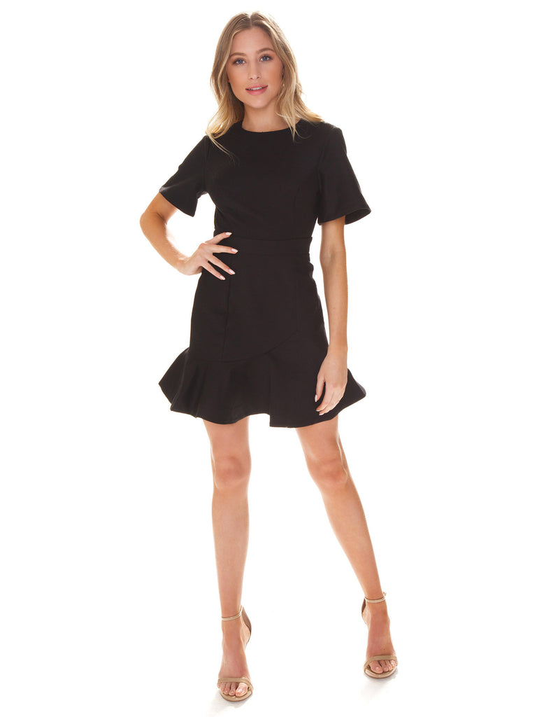 Women outfit in a dress rental from Finders Keepers called Aranciata Mini Dress