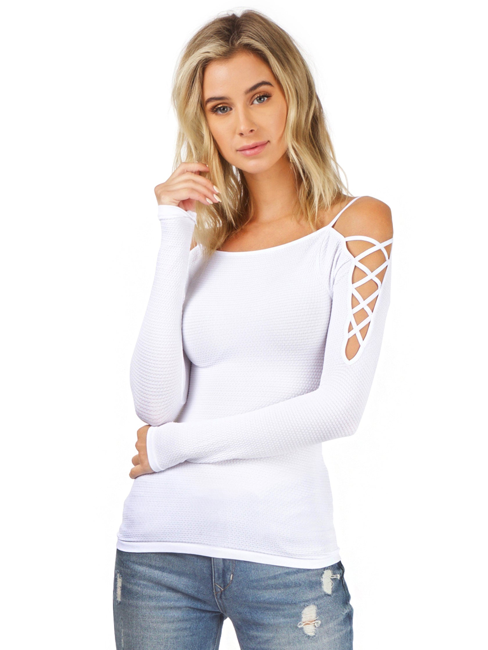 Woman wearing a top rental from Free People called Cross Shoulder Top