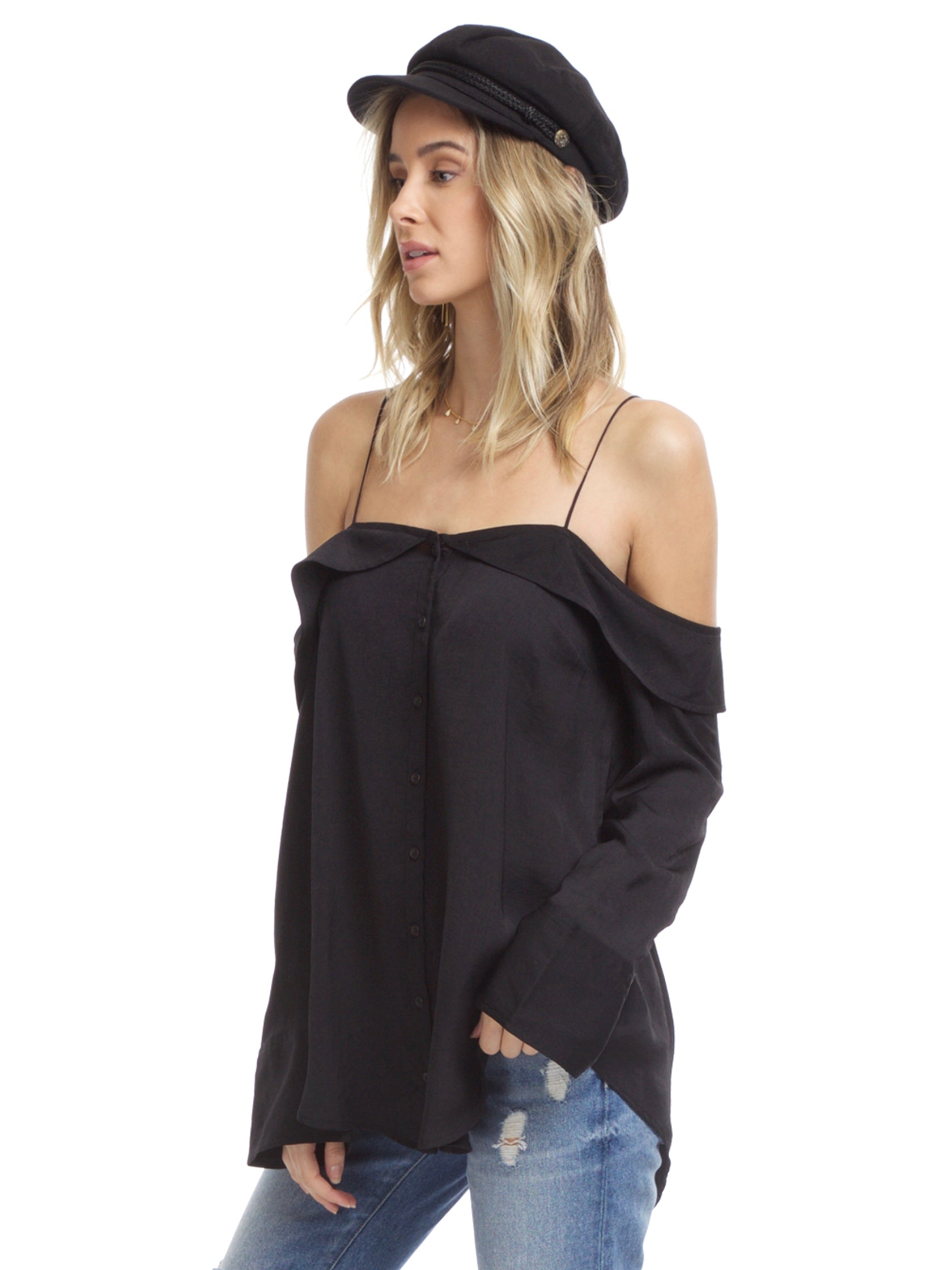Women wearing a top rental from Free People called Walk This Way Buttondown Top