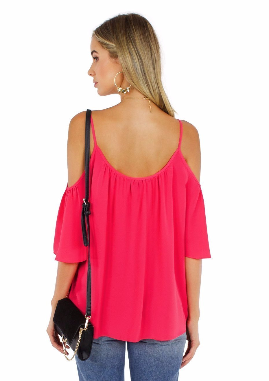 Women wearing a top rental from French Connection called Crepe Light Cut Out Shoulder Top