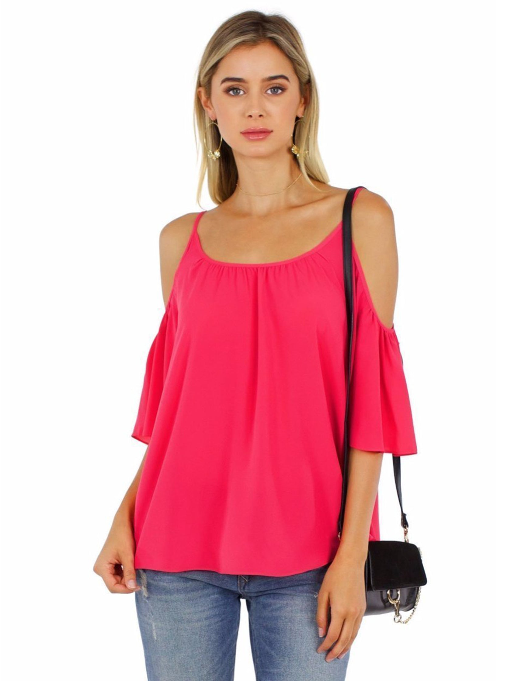 Girl outfit in a top rental from French Connection called Crepe Light Cut Out Shoulder Top