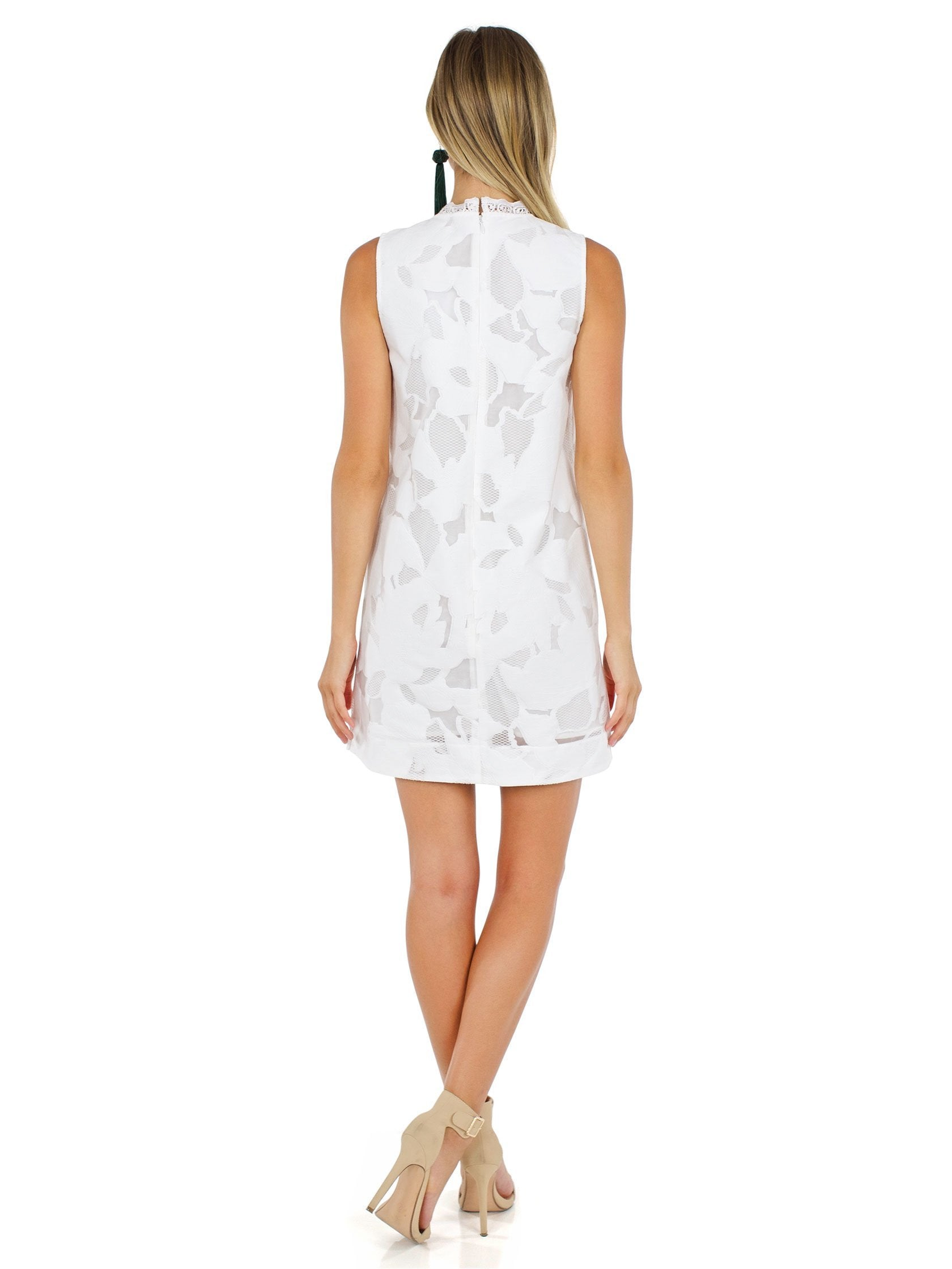 Women wearing a dress rental from French Connection called Deka Lace Shift Dress
