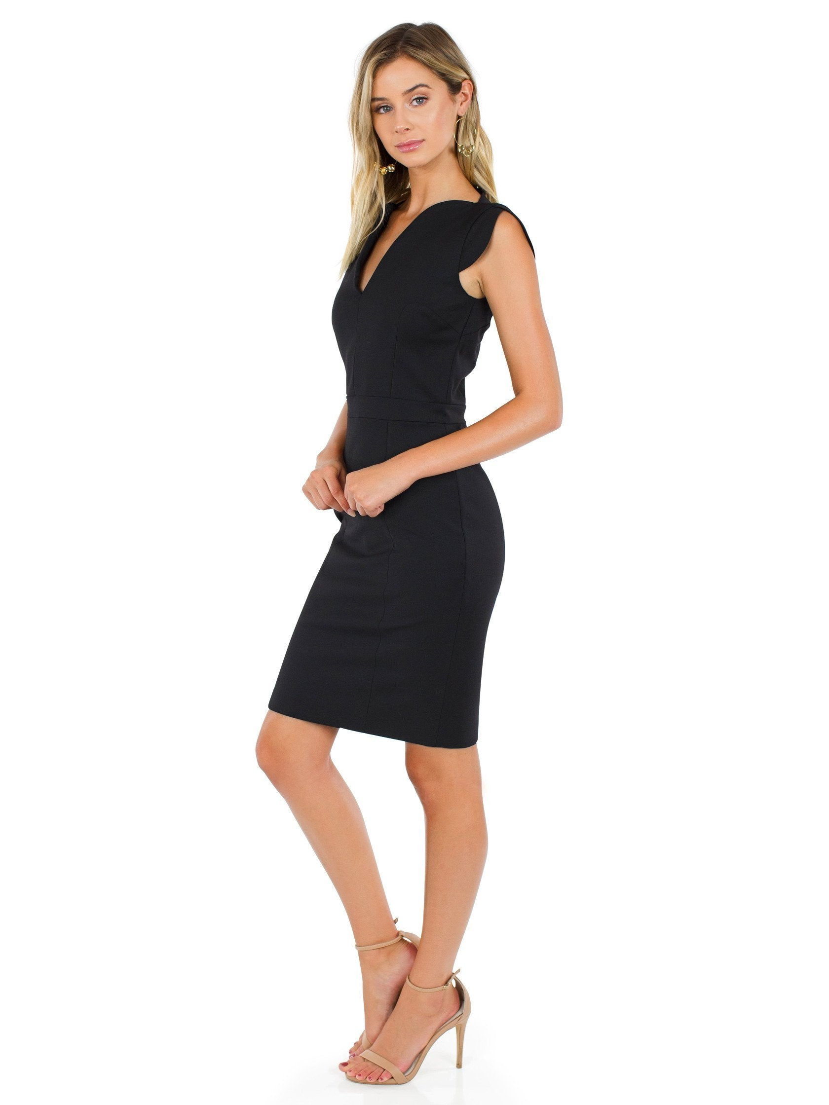 Women outfit in a dress rental from French Connection called Lolo Stretch Dress