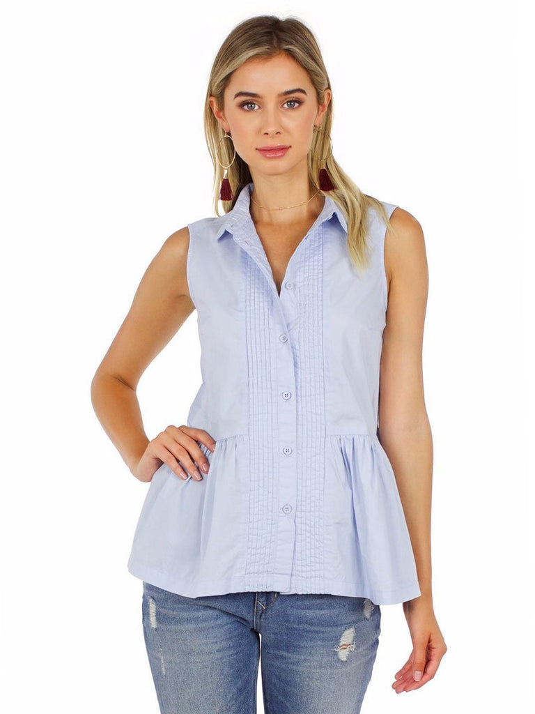 Women outfit in a top rental from French Connection called Classic Crepe Pleated Tank
