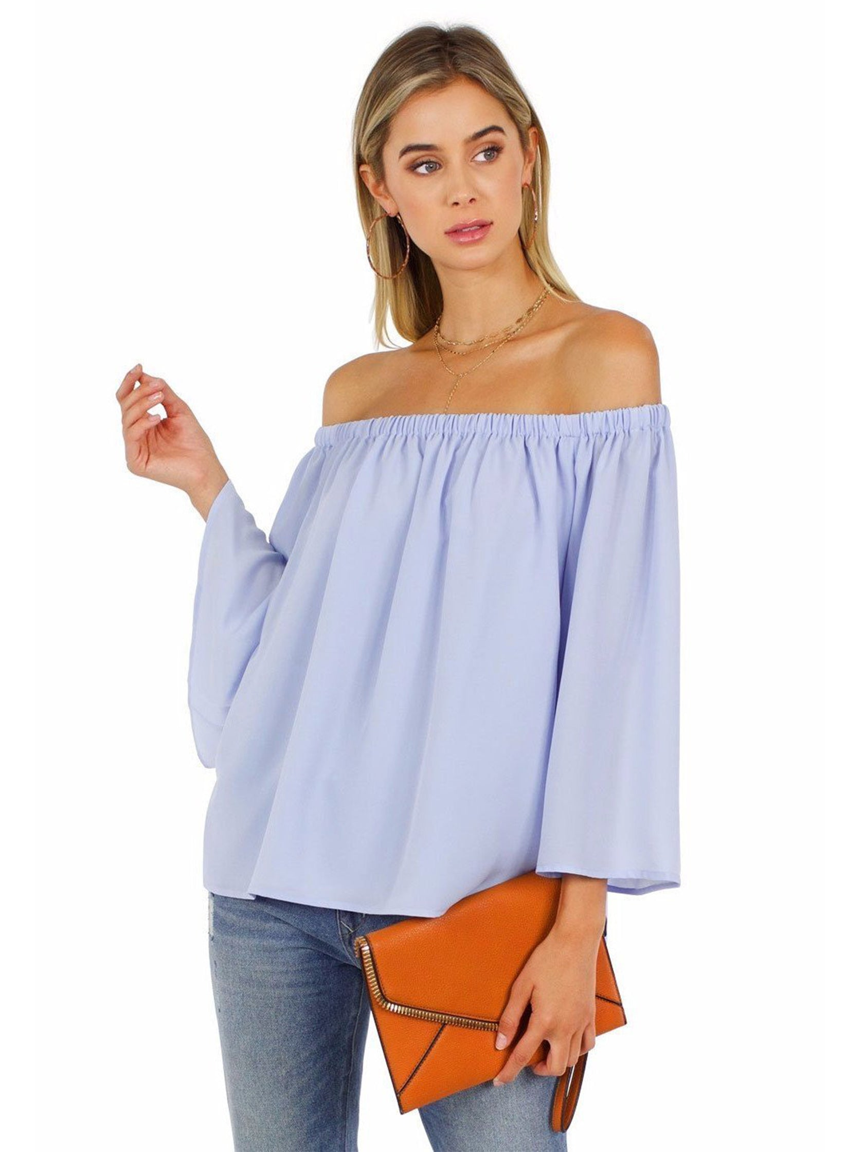 Girl outfit in a top rental from French Connection called Off Shoulder Top