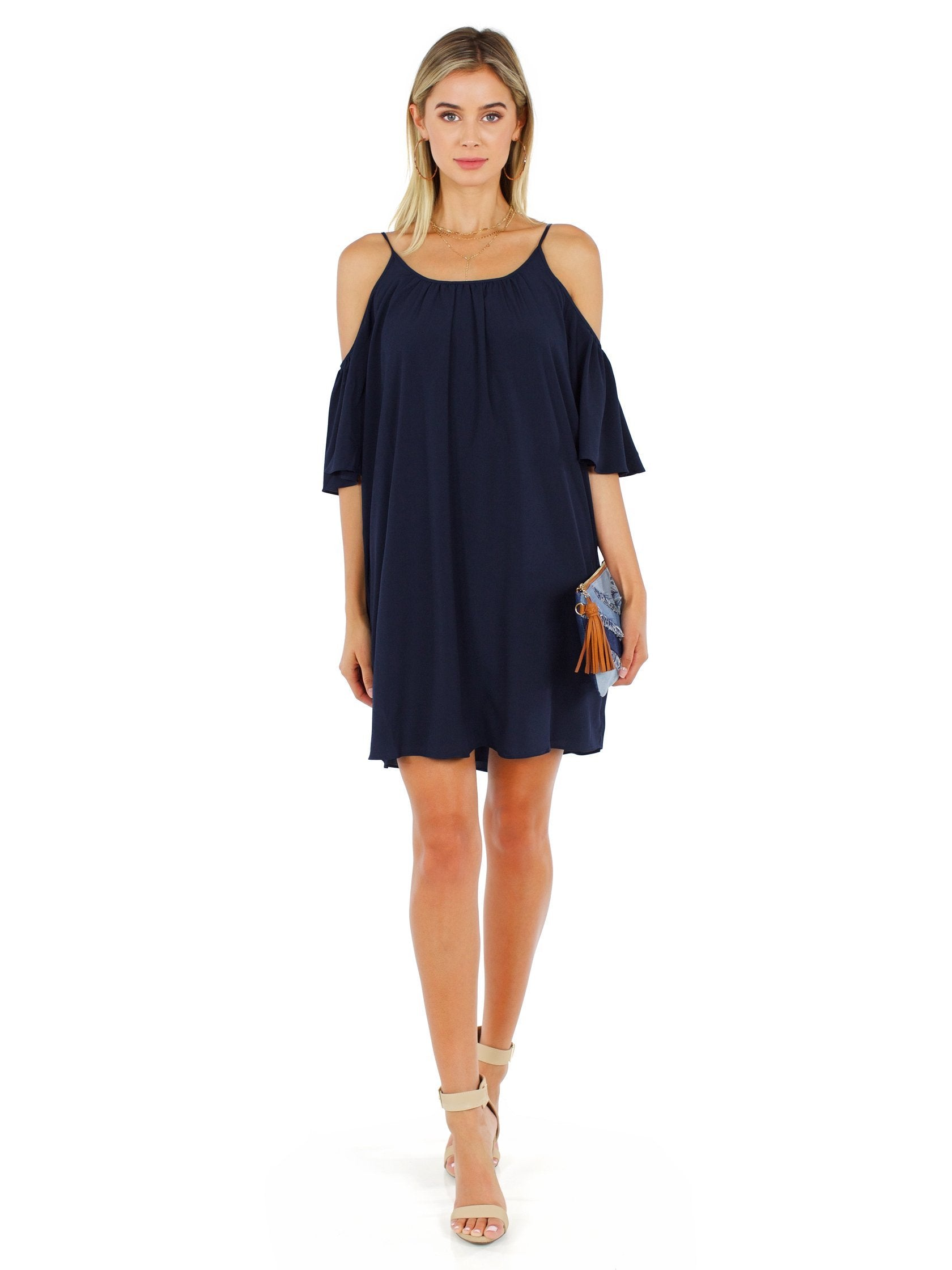 Girl outfit in a dress rental from French Connection called Polly Plains Cold Shoulder Dress