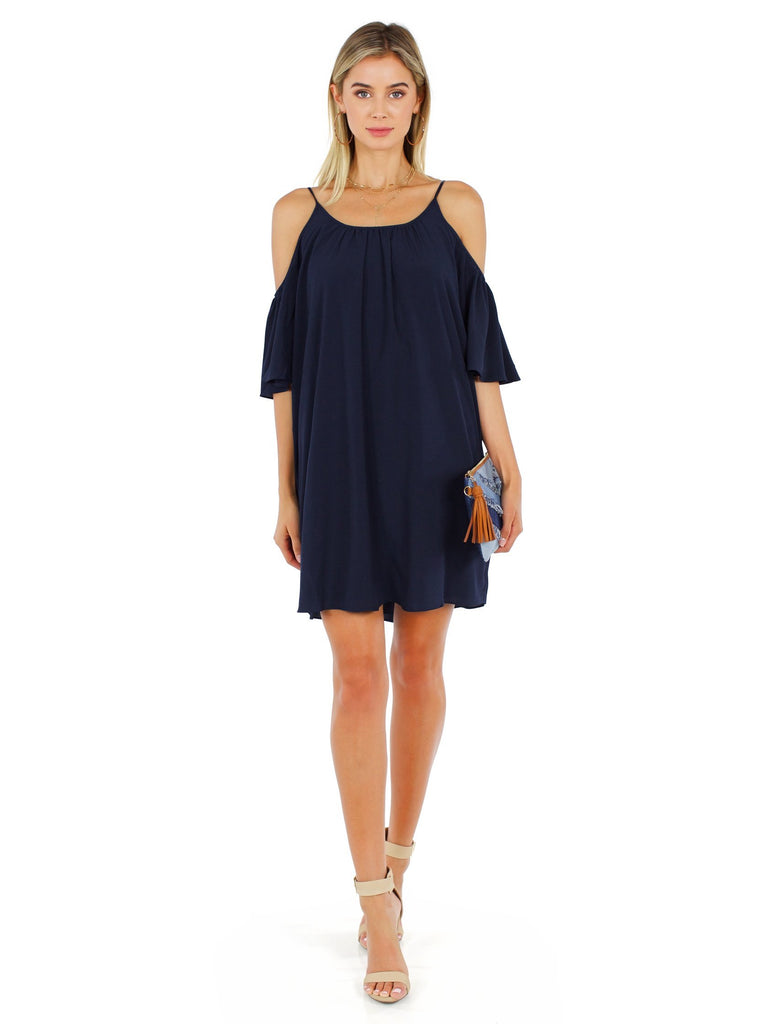 Women outfit in a dress rental from French Connection called Constance Drape Cold Shoulder Dress