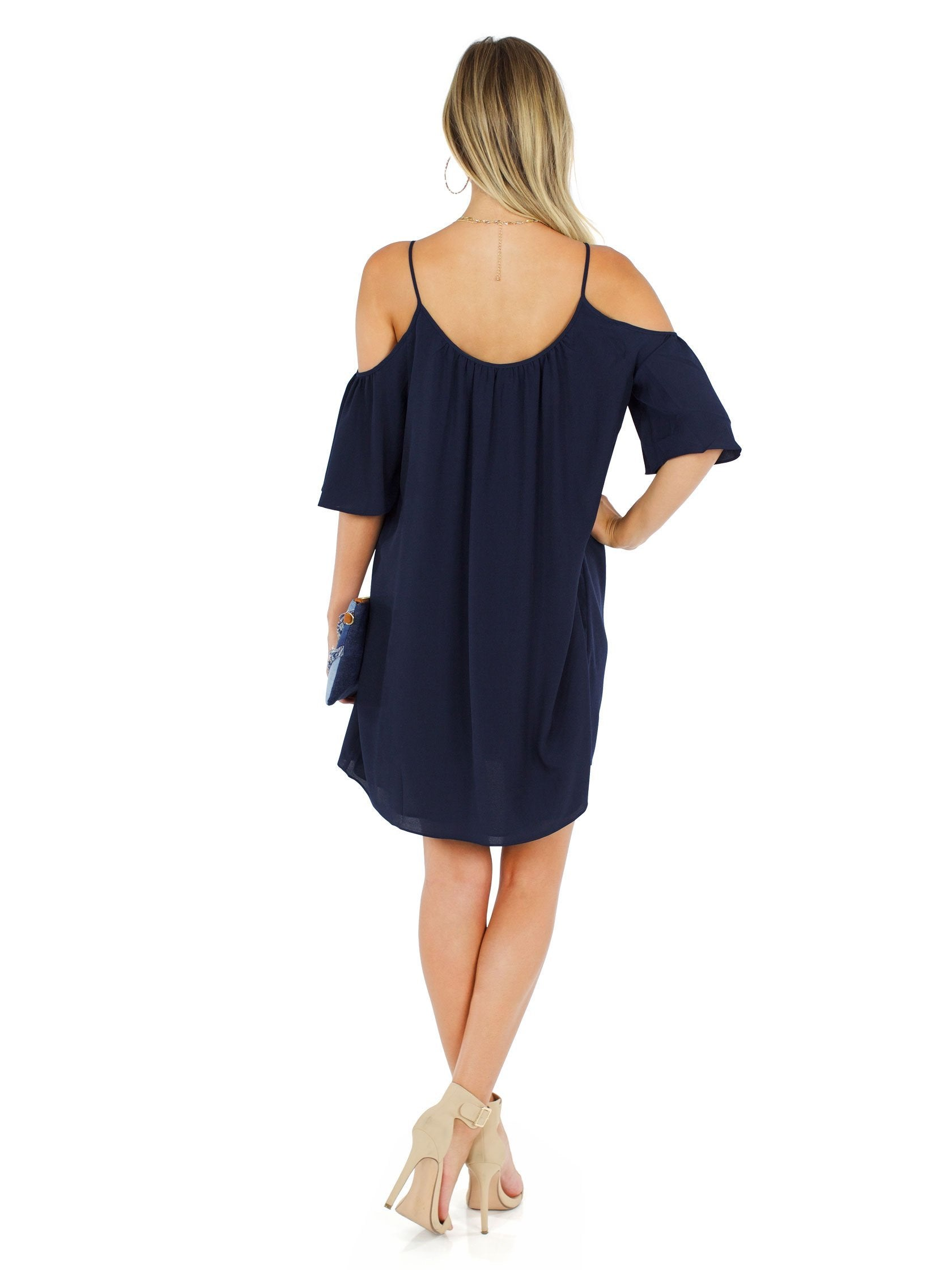 French Connection Womens Cut Out Shoulder Polly Dress