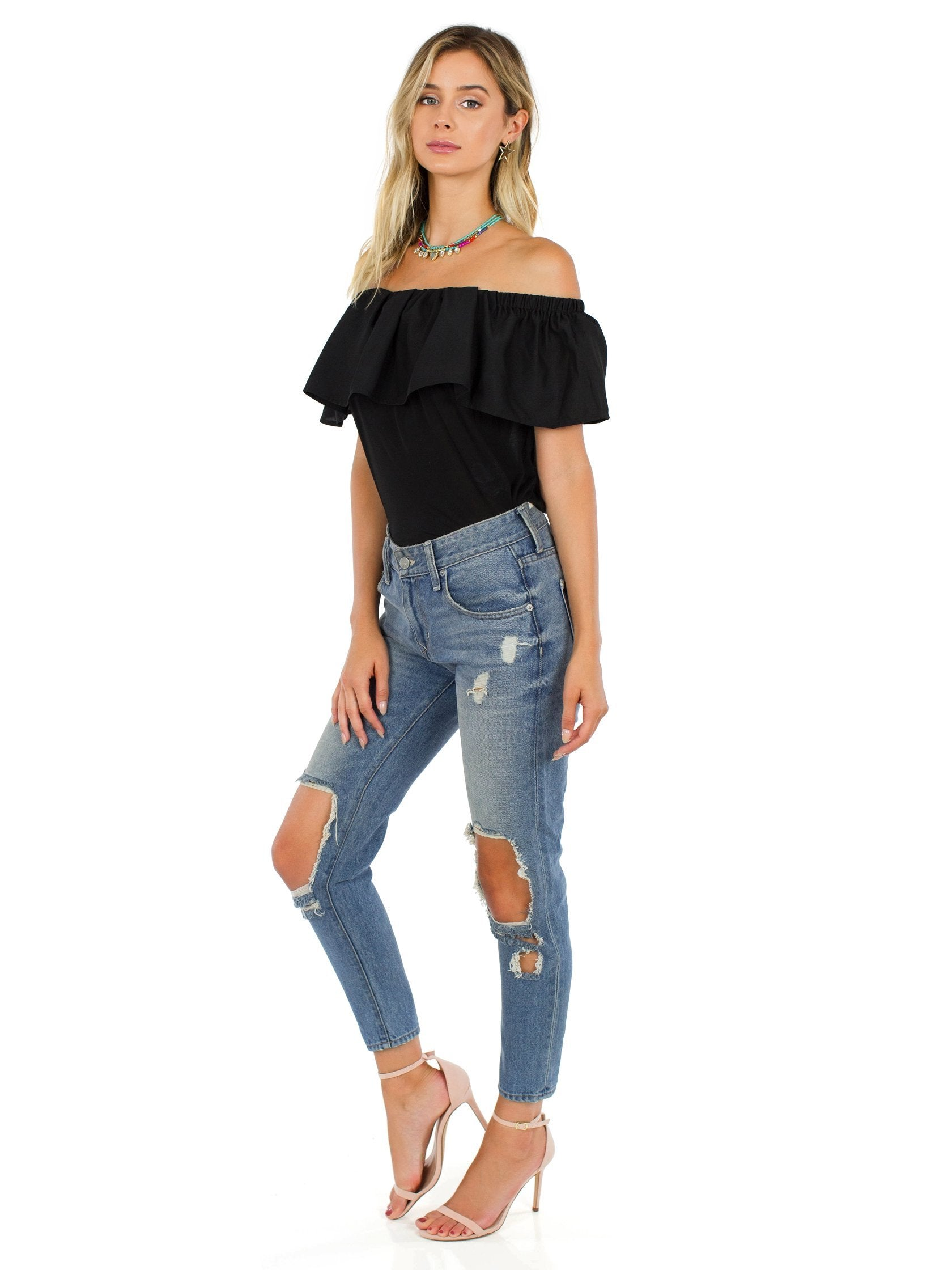 Women outfit in a top rental from French Connection called Polly Plains Off-the-shoulder Top