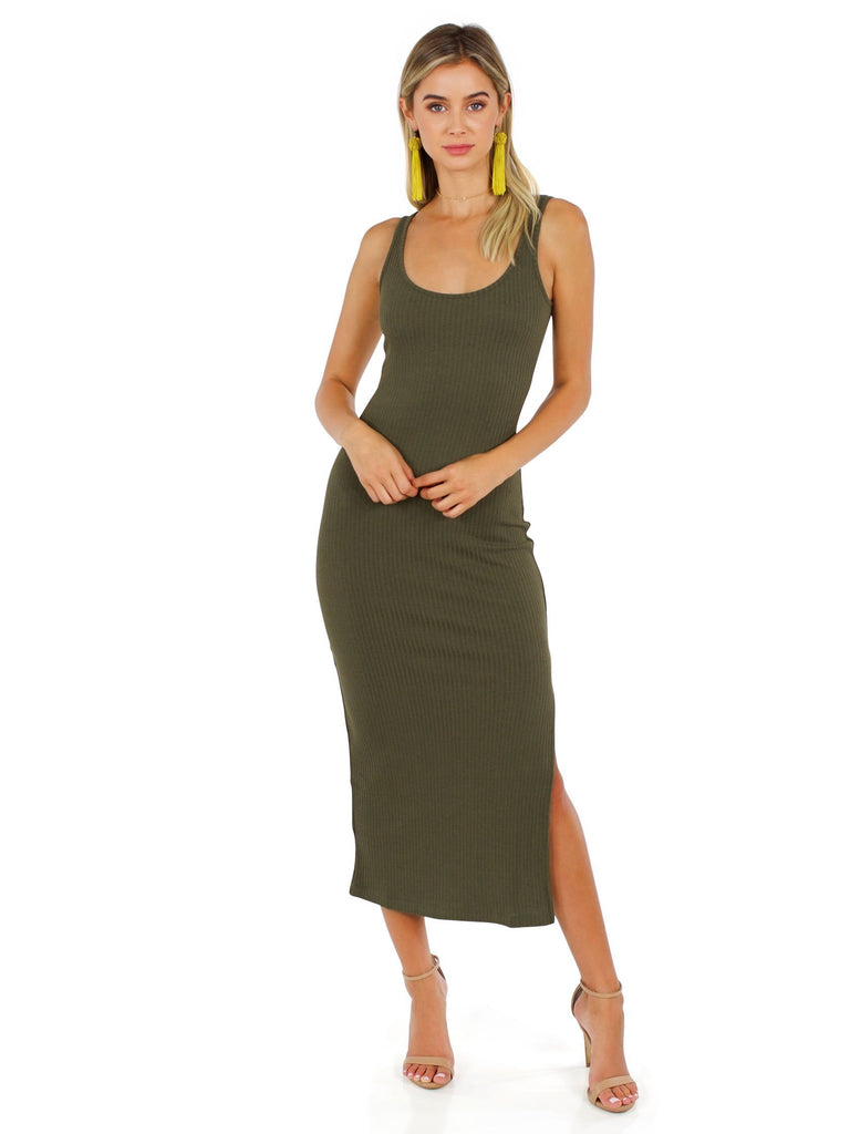 Woman wearing a dress rental from French Connection called Classic Crepe Pleated Tank