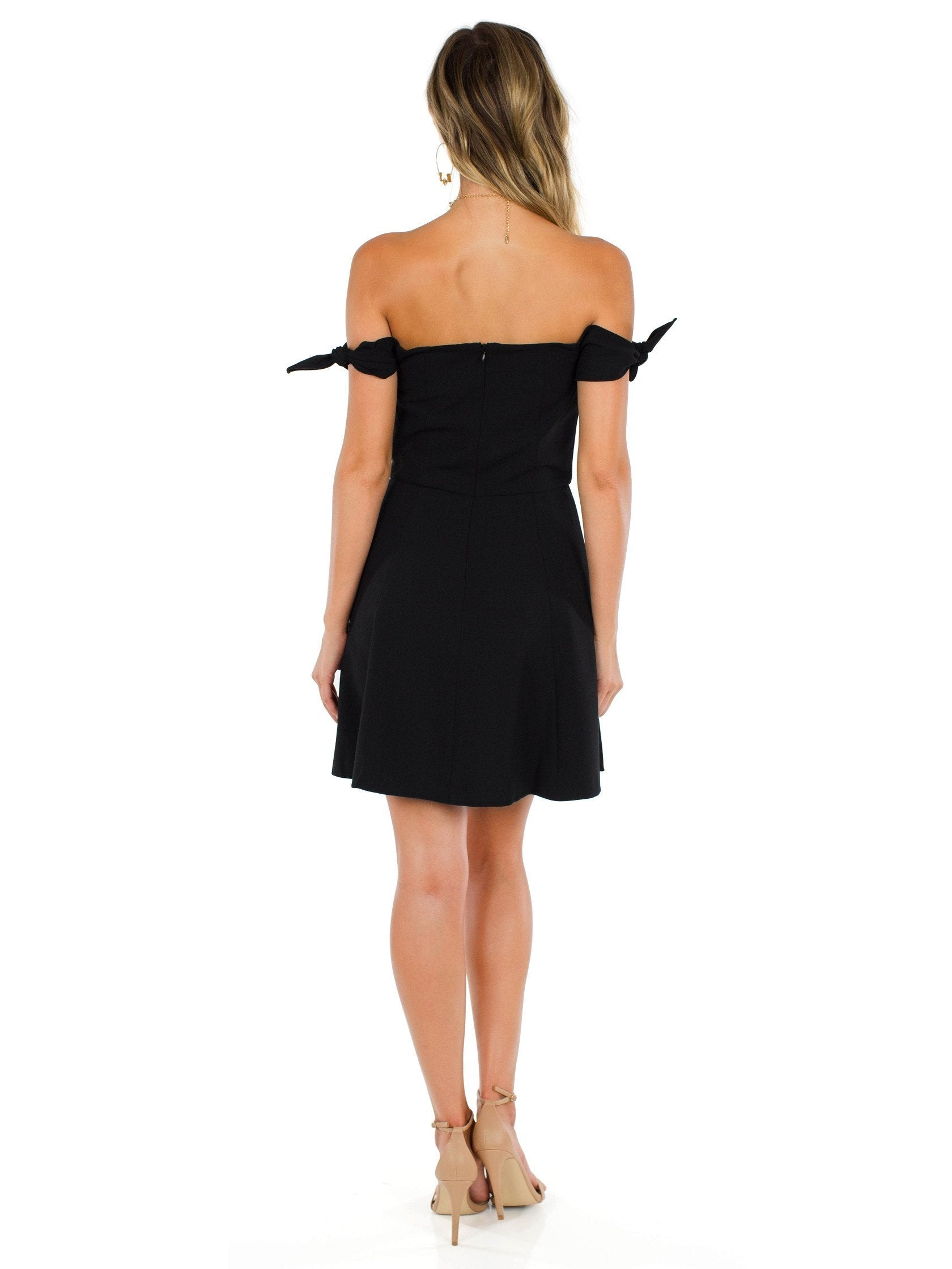 Women wearing a dress rental from French Connection called Whisper Light Off The Shoulder Dress
