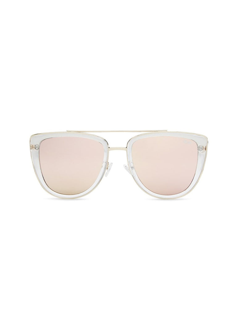 Girl wearing a sunglasses rental from Quay Australia called Zodiac Gold Ring (select Your Sign)