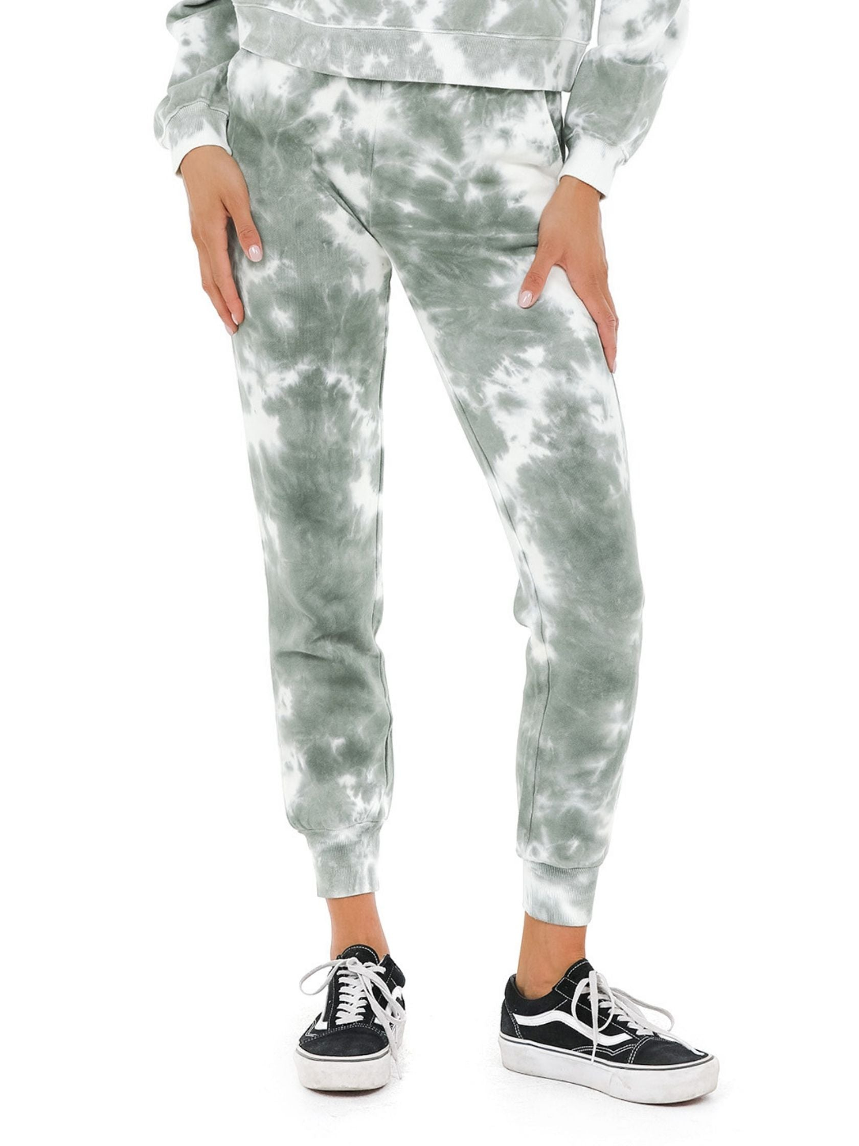Woman wearing a joggers rental from 525 called French Terry Tie Dye Joggers