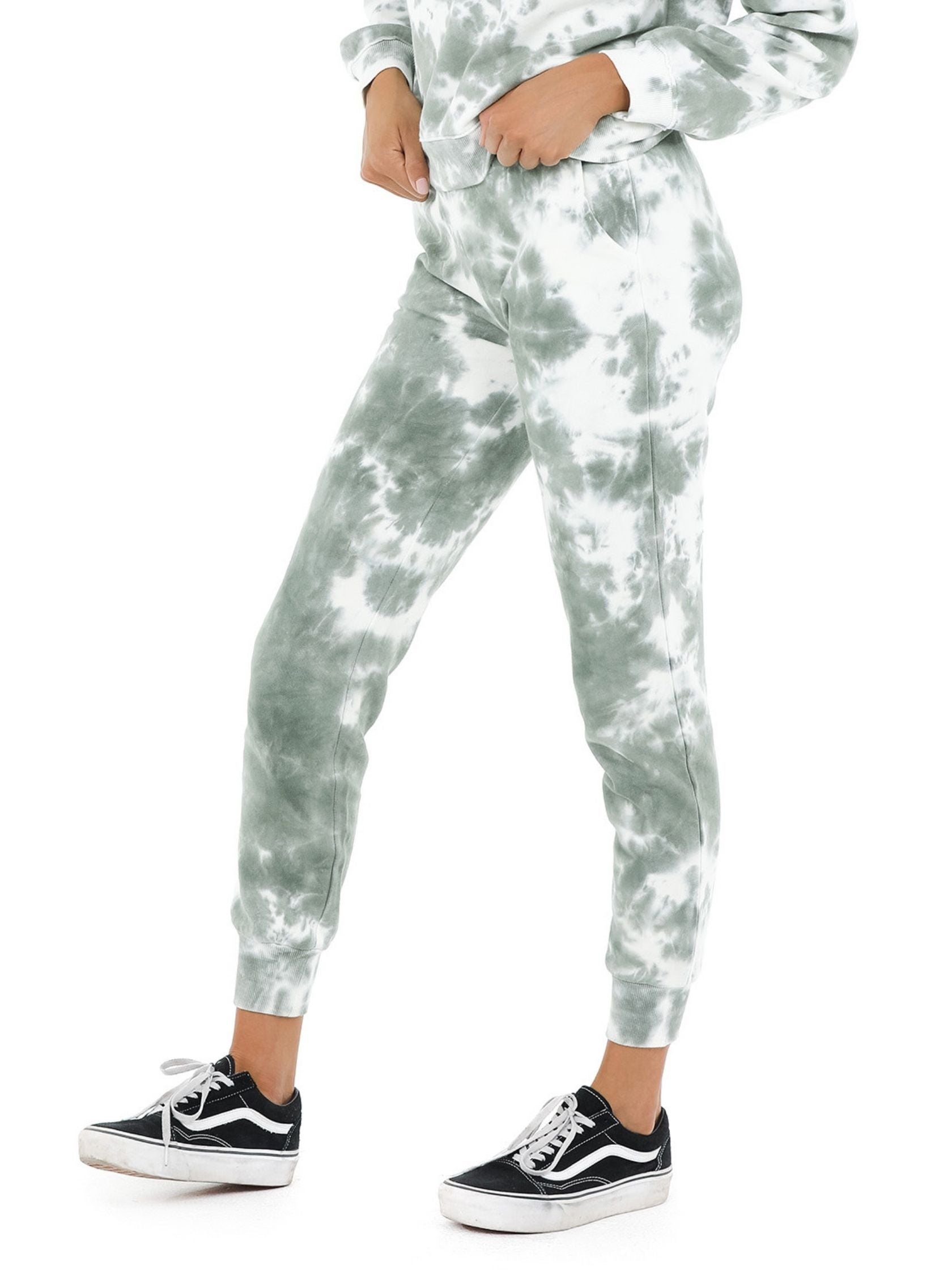 Women wearing a joggers rental from 525 called French Terry Tie Dye Joggers