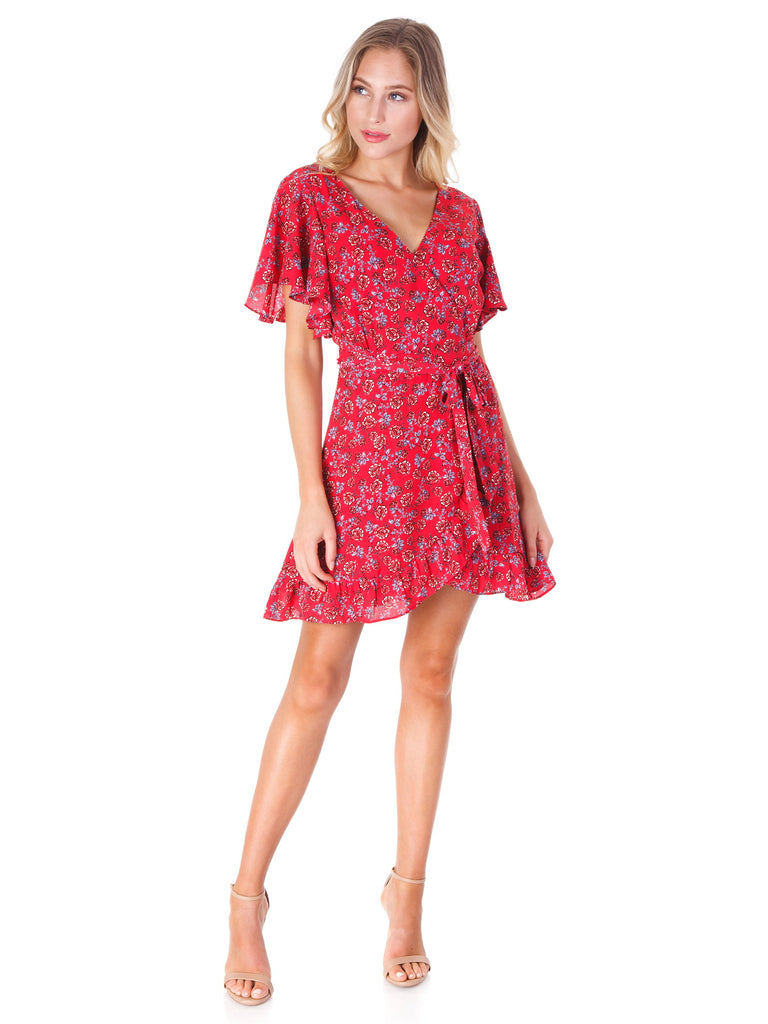 Women wearing a dress rental from BB Dakota called Friendly Fire Ruby Wrap Dress