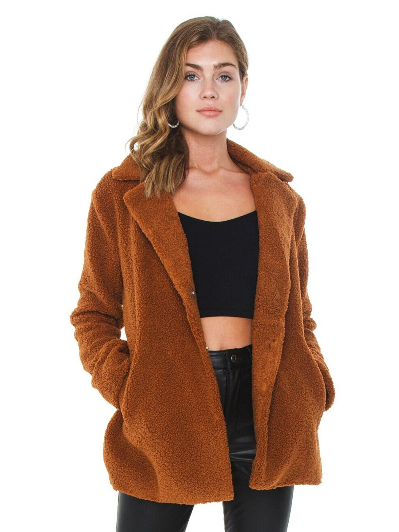 Woman wearing a jacket rental from MINKPINK called Game Of Chance Shearling Coat