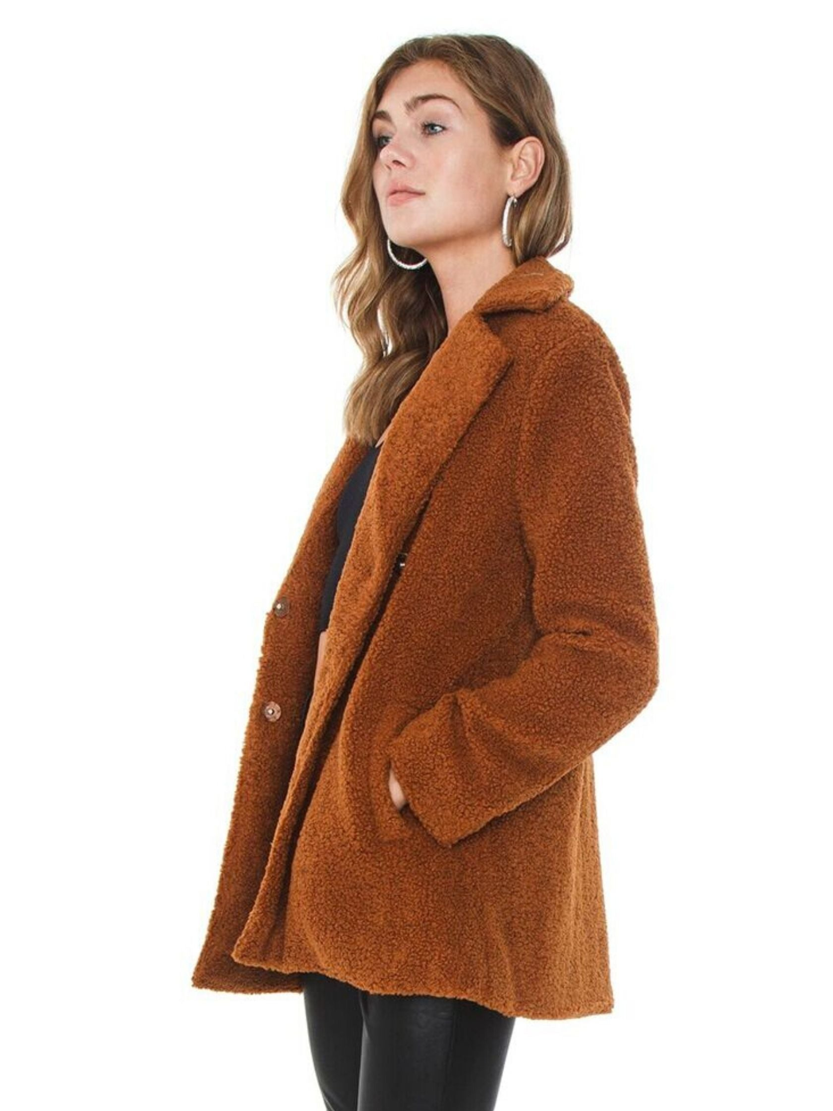 Women wearing a jacket rental from MINKPINK called Game Of Chance Shearling Coat
