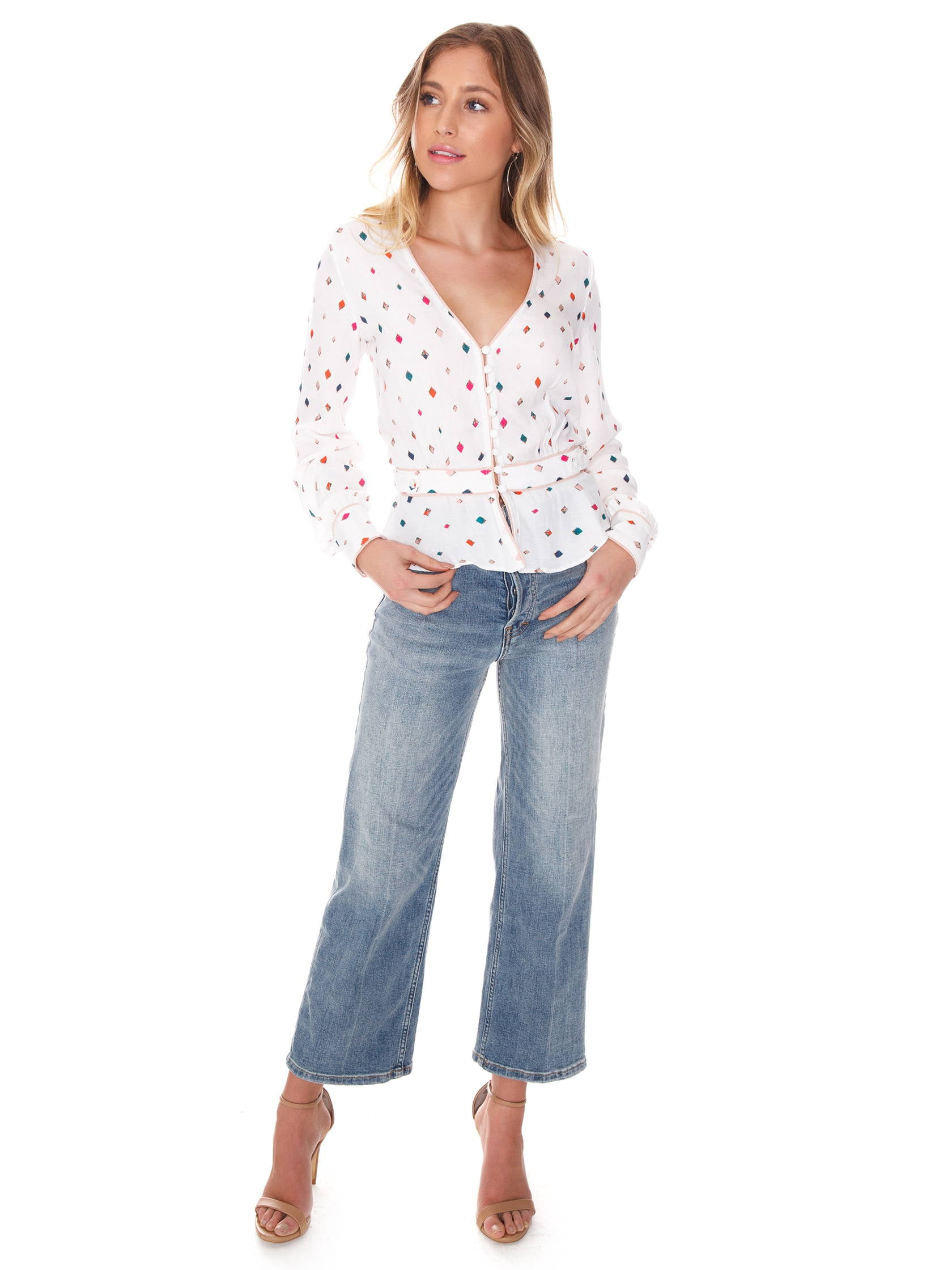 Girl wearing a top rental from FLETCH called Gemma Printed Blouse 2d6a1478b