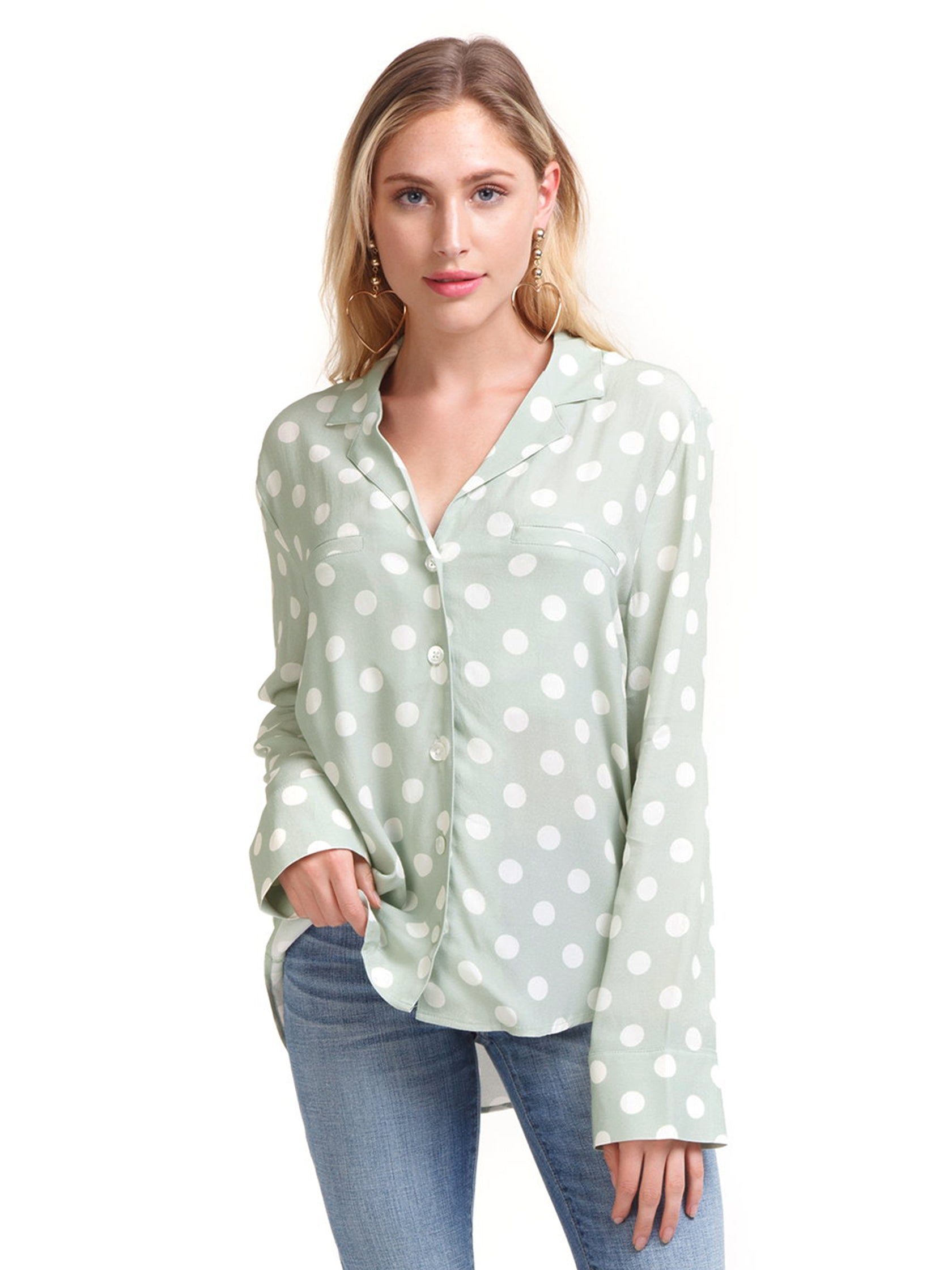 Women outfit in a top rental from Capulet called Geneva Polka Dot Buttondown