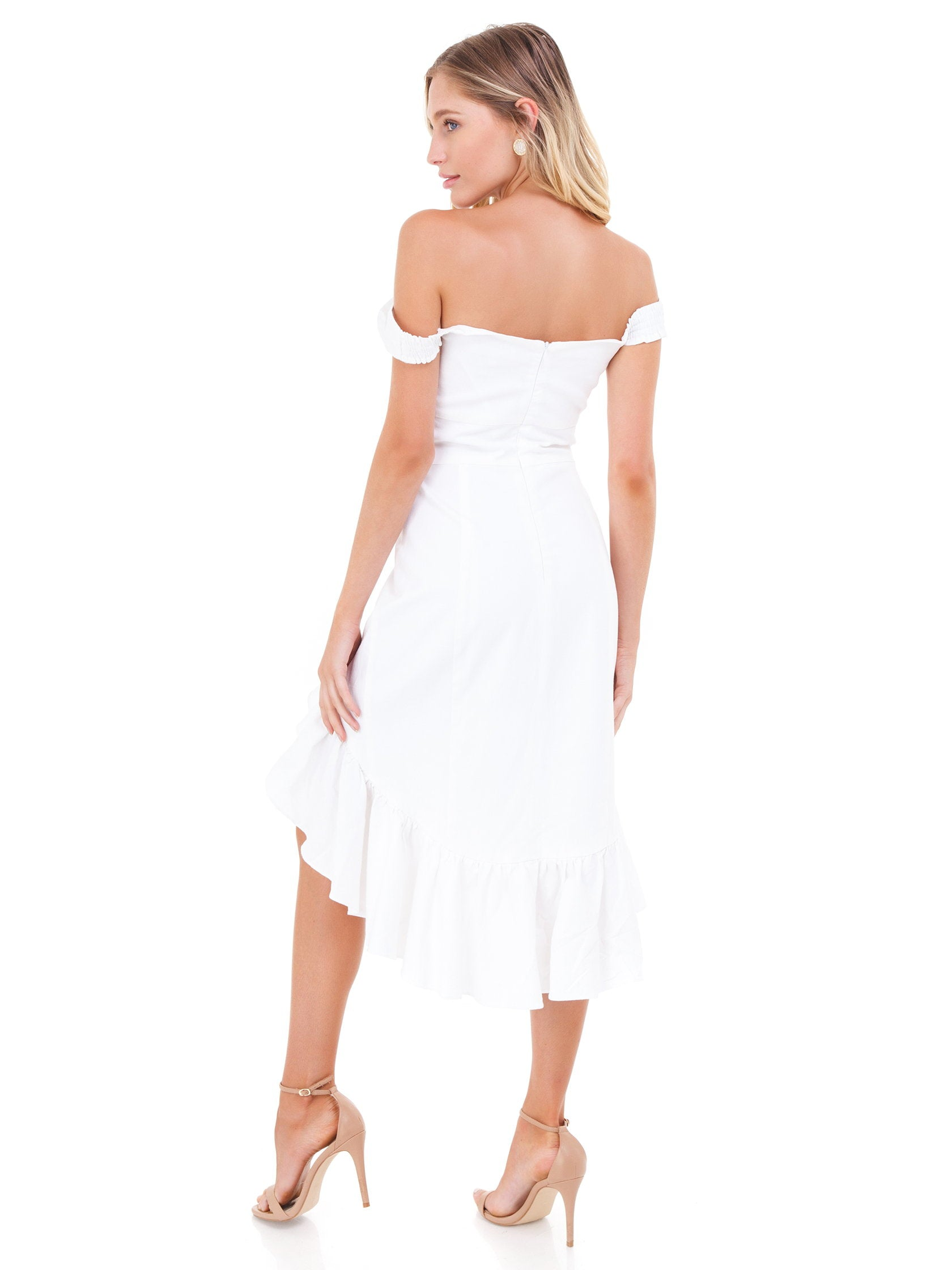 Women wearing a dress rental from WAYF called Genoa Off The Shoulder Dress