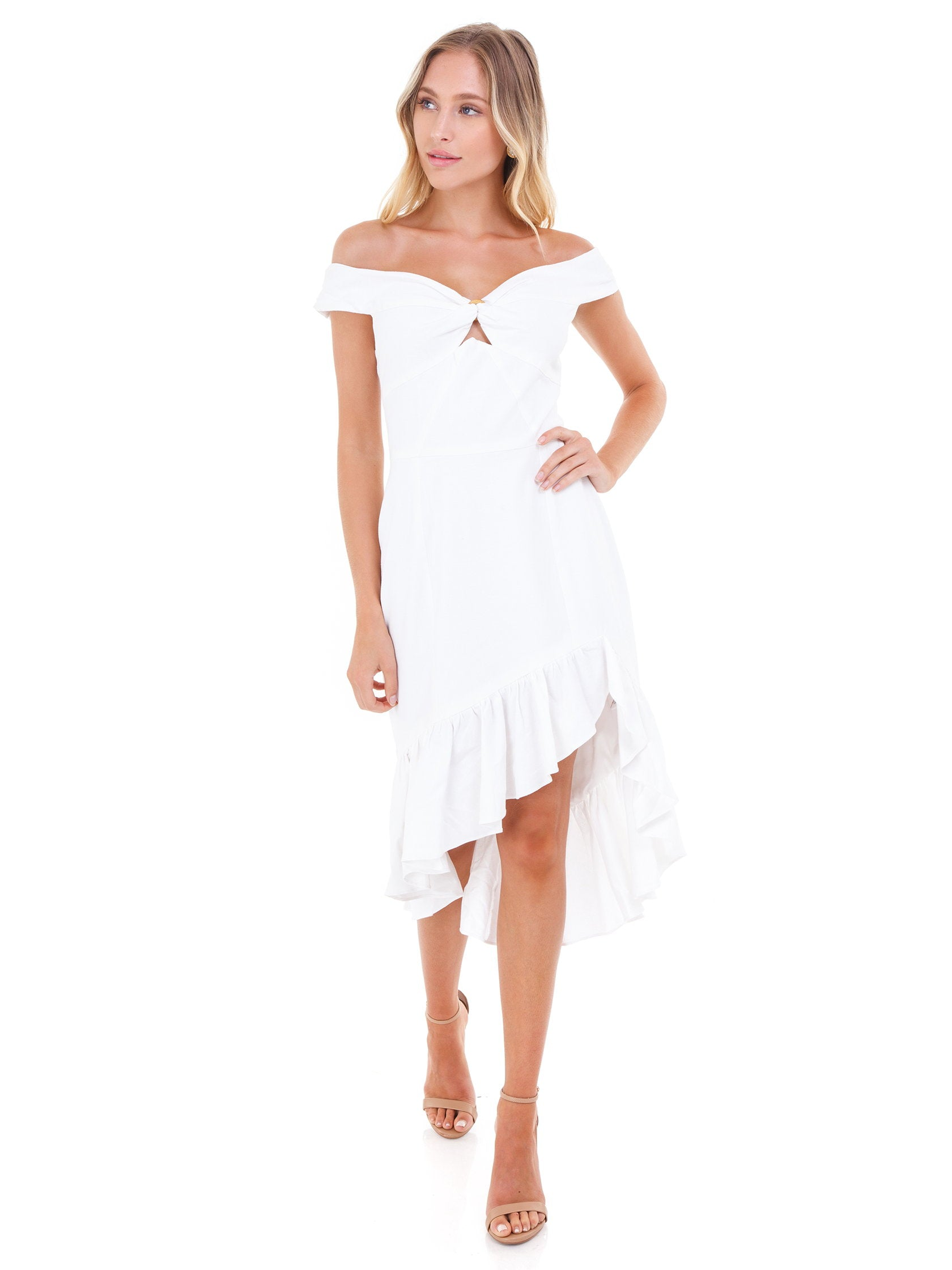 Girl outfit in a dress rental from WAYF called Genoa Off The Shoulder Dress