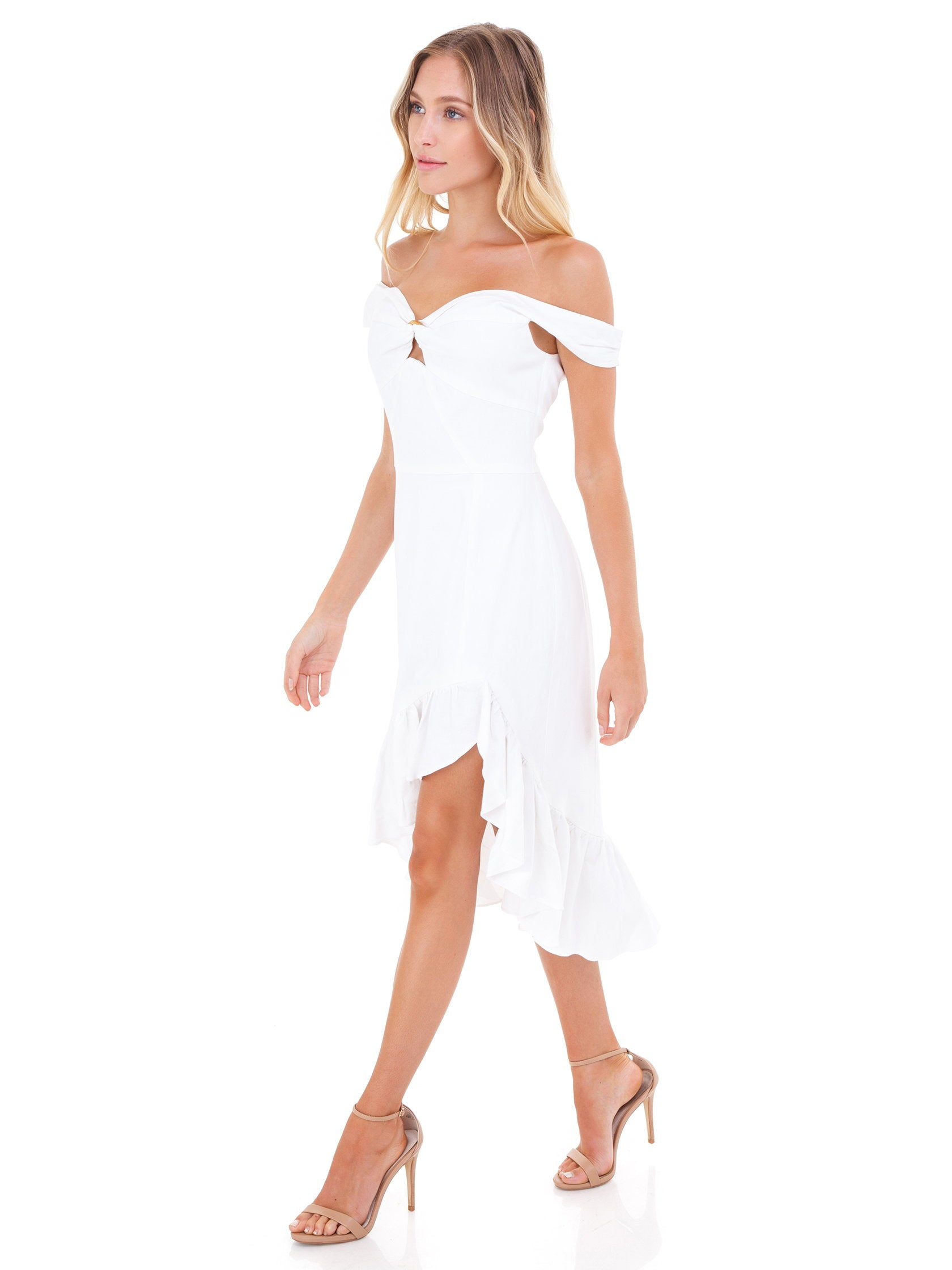 Woman wearing a dress rental from WAYF called Genoa Off The Shoulder Dress