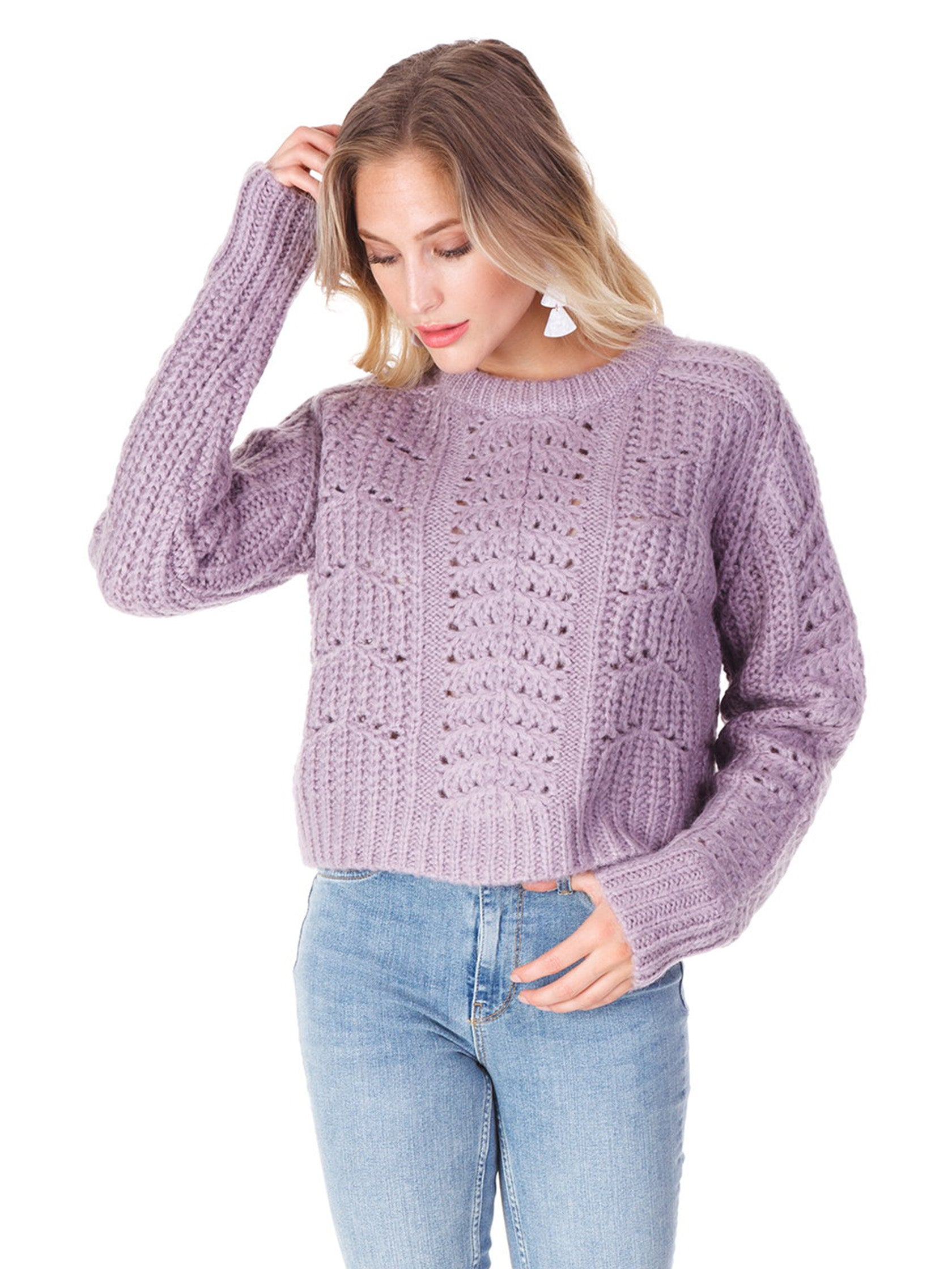 Women wearing a sweater rental from ASTR called Georgia Sweater
