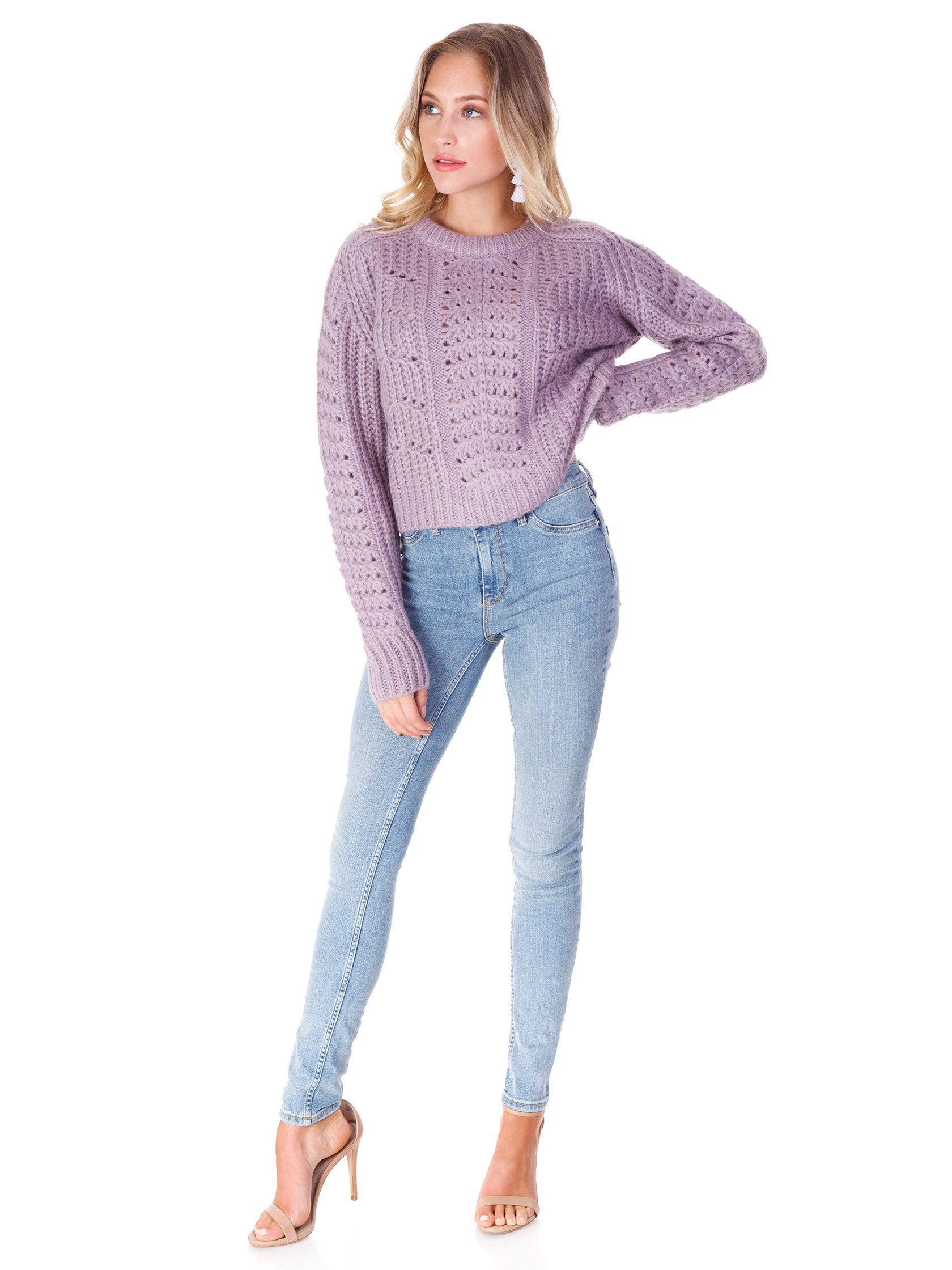 Girl wearing a sweater rental from ASTR called Georgia Sweater