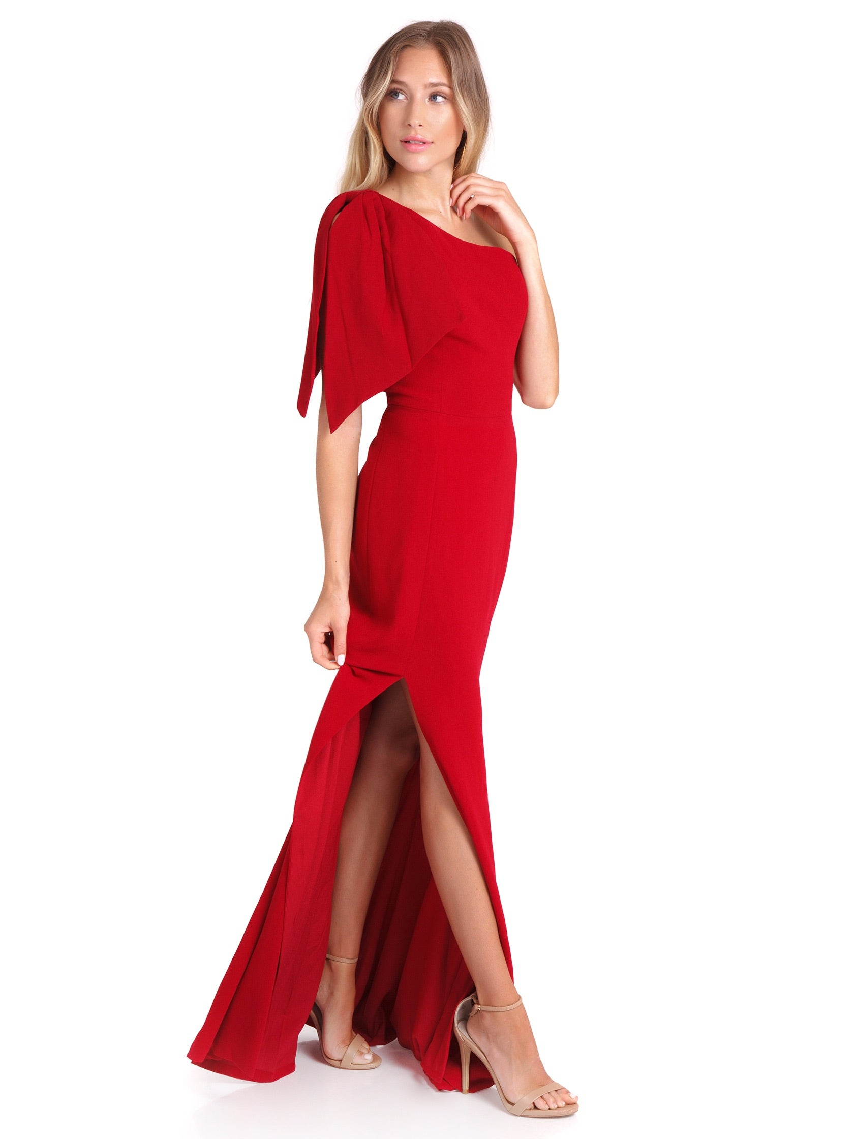 Woman wearing a dress rental from Dress the Population called Georgina Crepe One-shoulder Gown