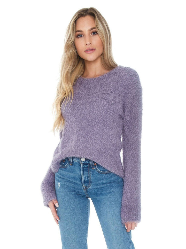 Girl wearing a sweater rental from BB Dakota called Shady Crop Cami
