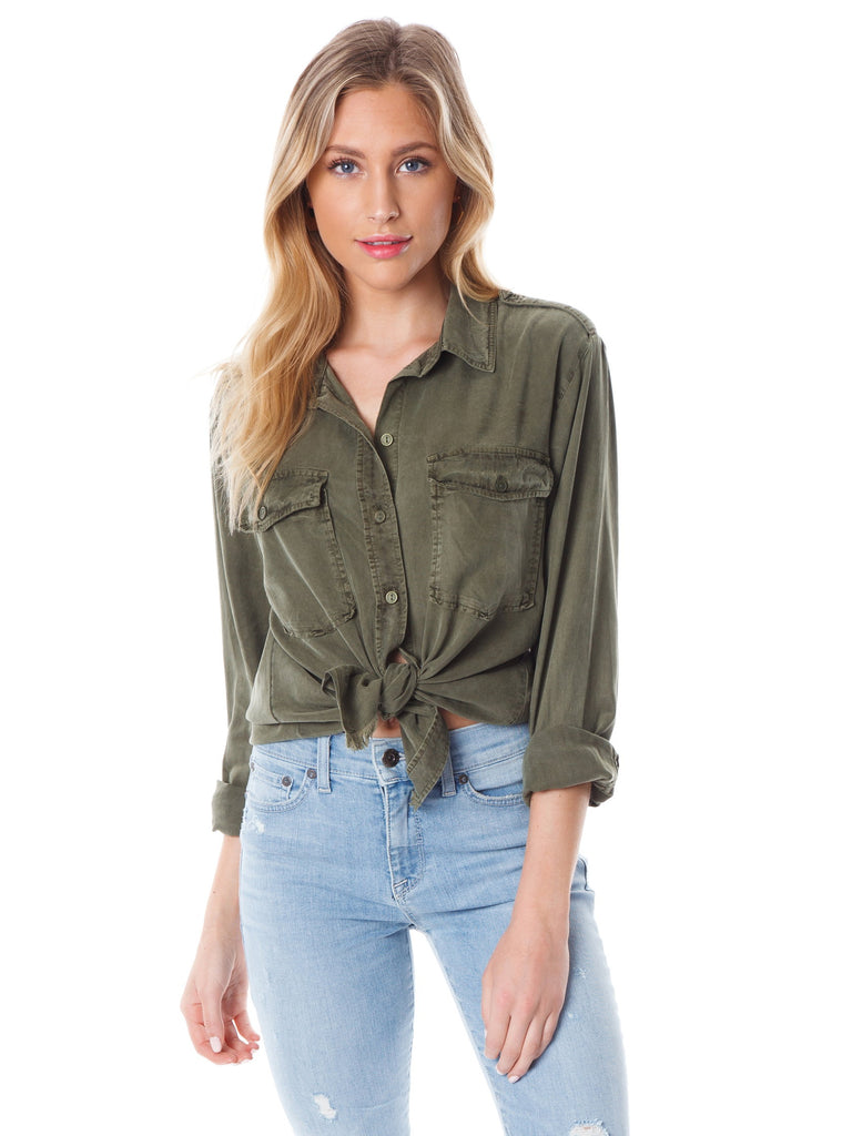 Women wearing a top rental from SANCTUARY called Gibson Button Down Shirt