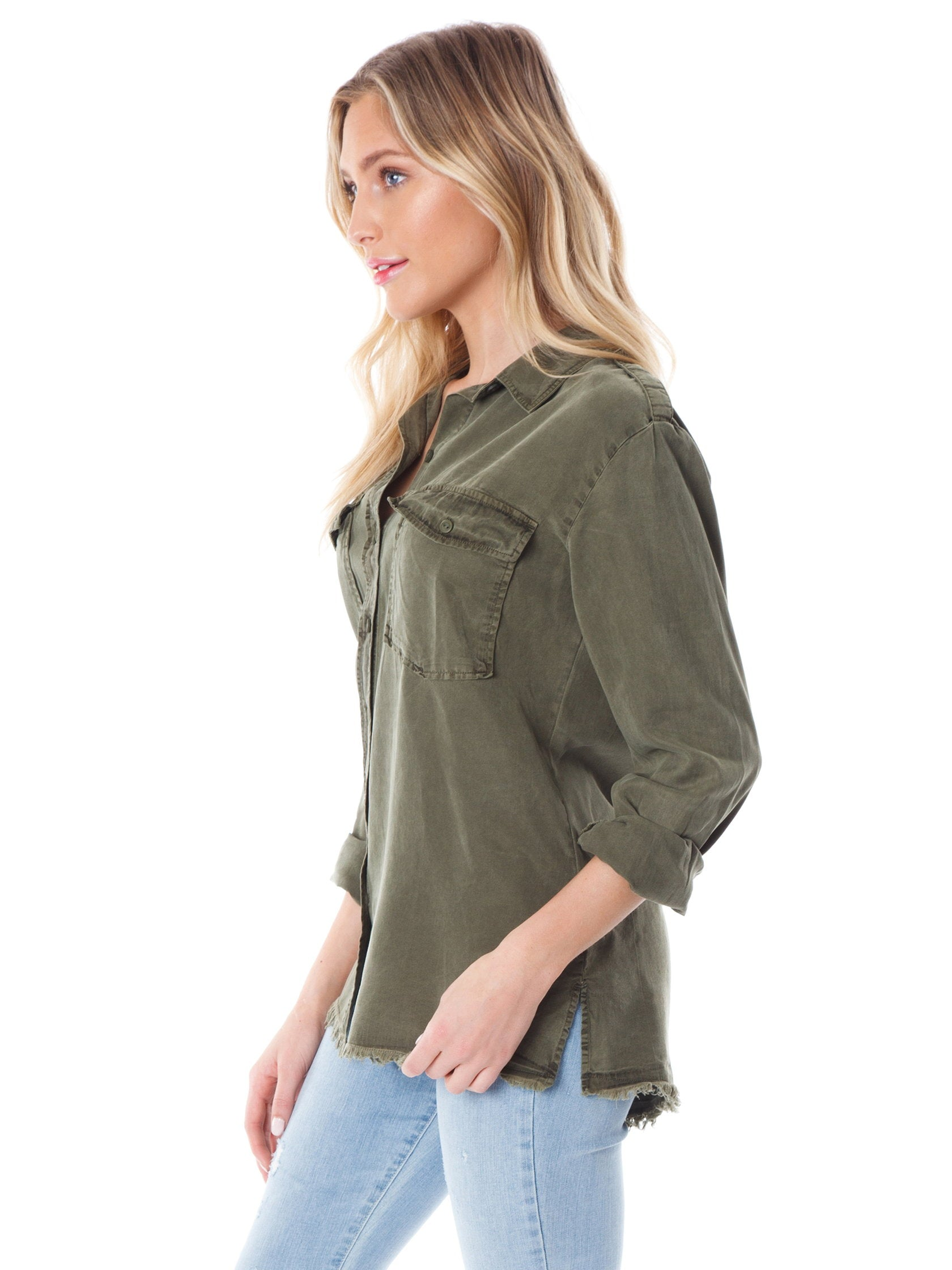 Girl wearing a top rental from SANCTUARY called Gibson Button Down Shirt