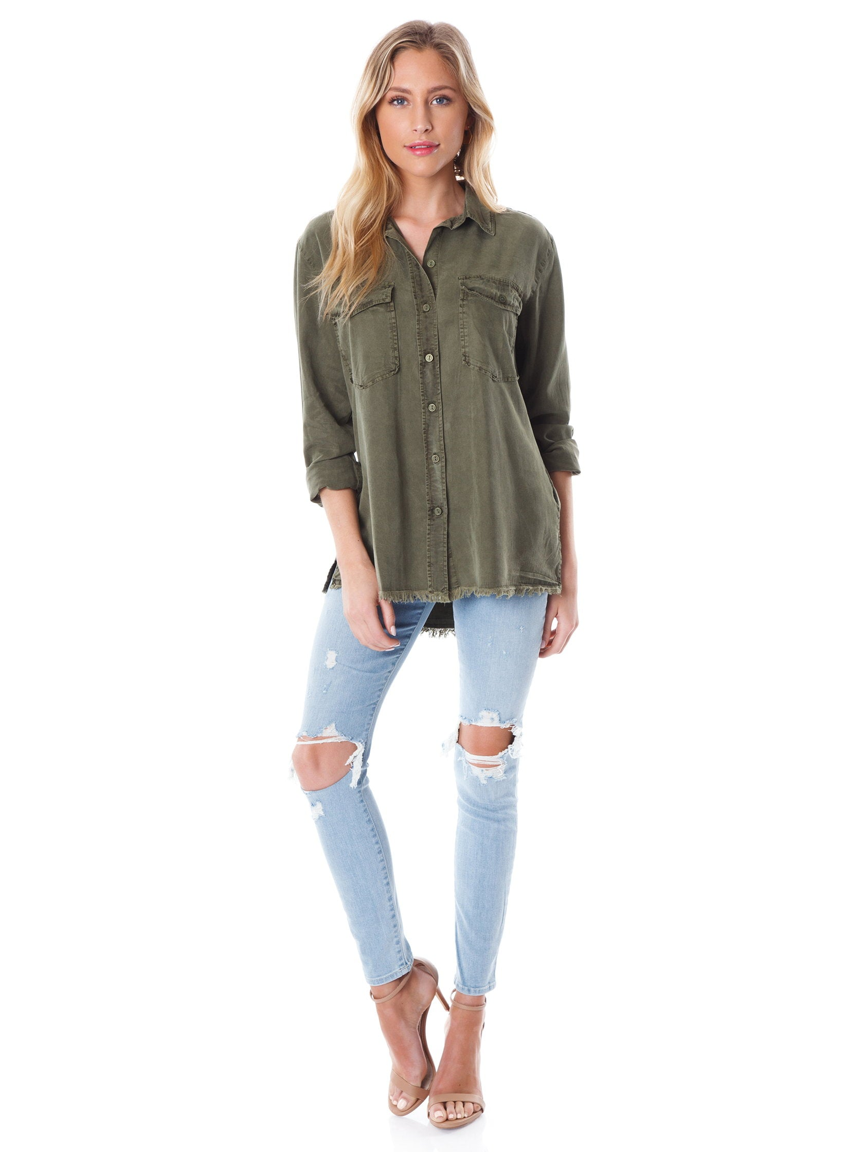 Woman wearing a top rental from SANCTUARY called Gibson Button Down Shirt