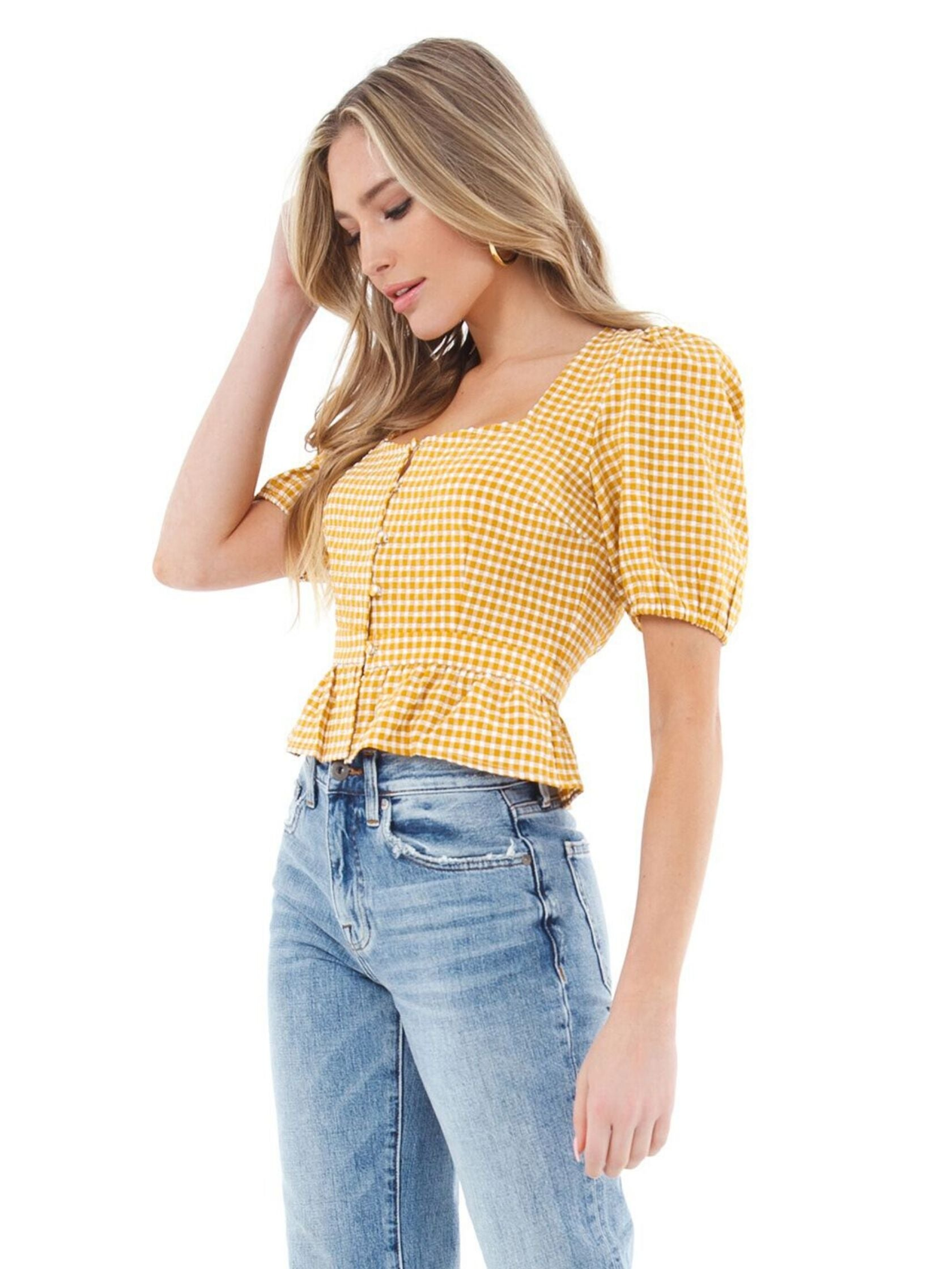 Women wearing a top rental from BB Dakota called Gingham Seersucker Top