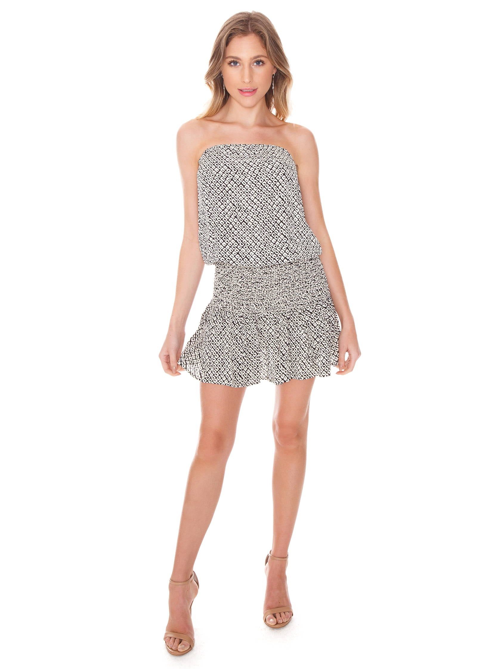 Women outfit in a dress rental from Blue Life called Good Karma Mini Dress