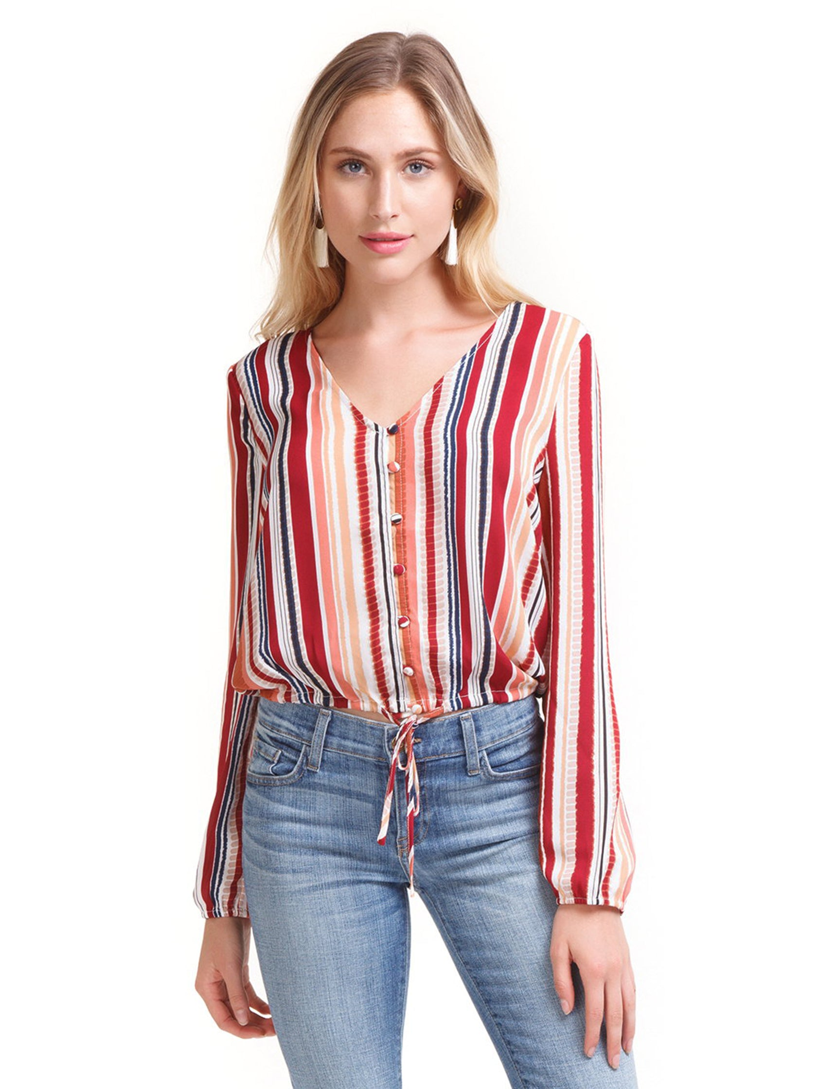 Girl outfit in a top rental from BB Dakota called Grigio Girl Stripe Top